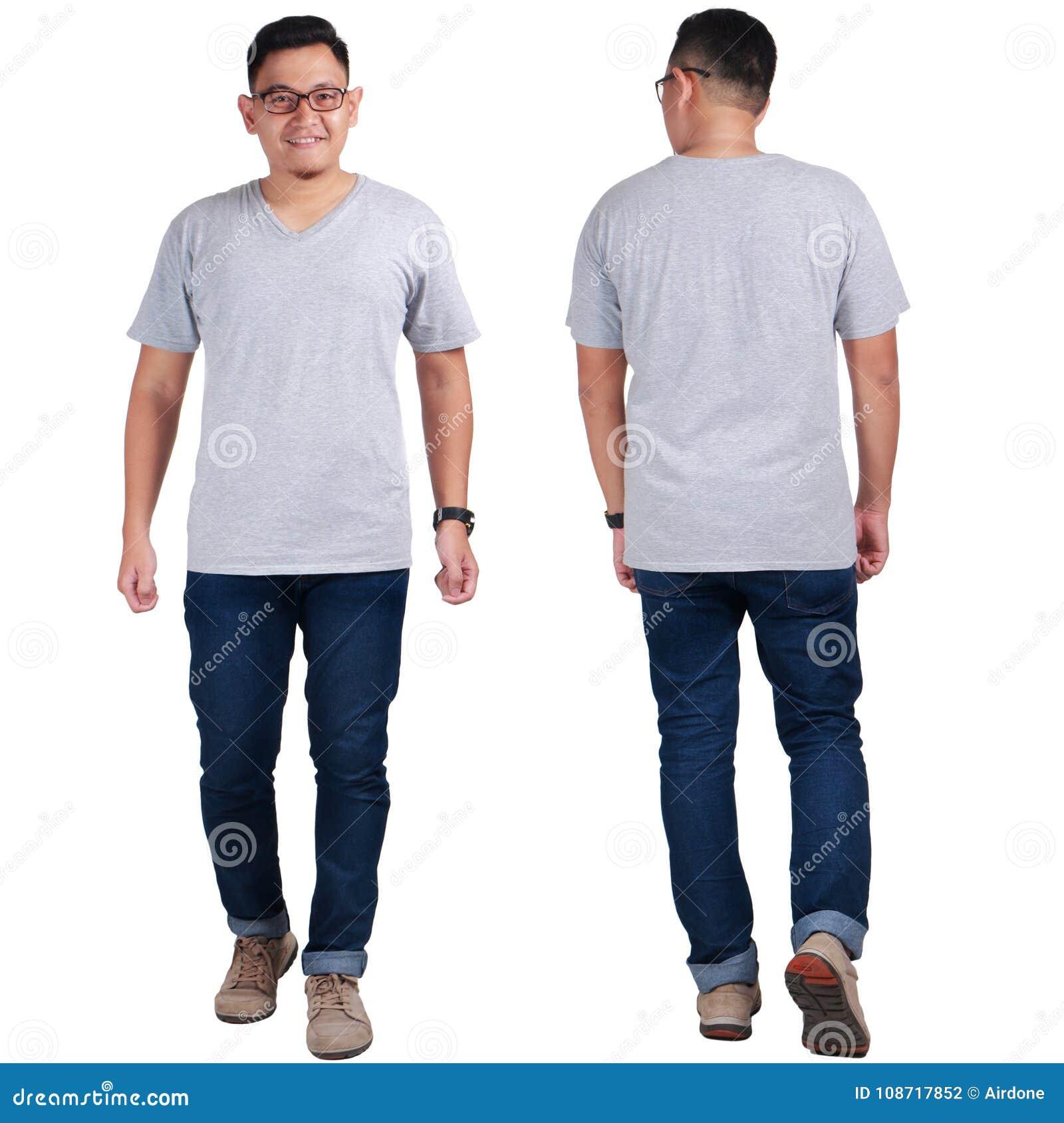 Anseende för ung man, Grey Shirt Mock Up