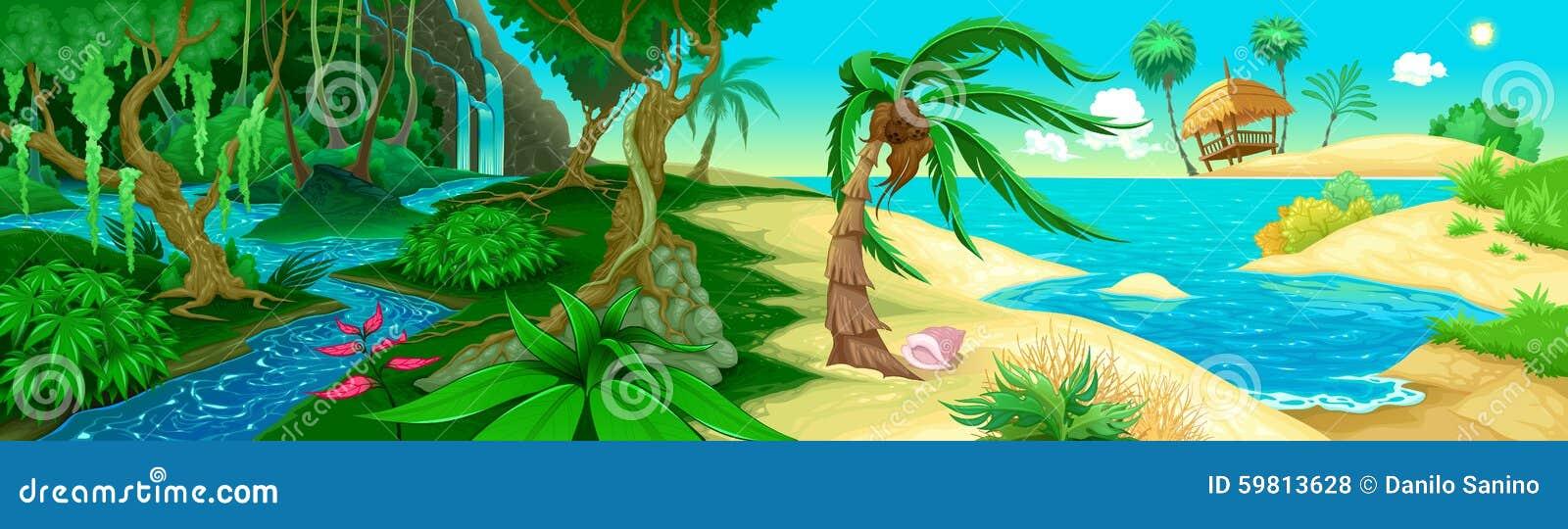 Ansicht über den Dschungel und das Meer