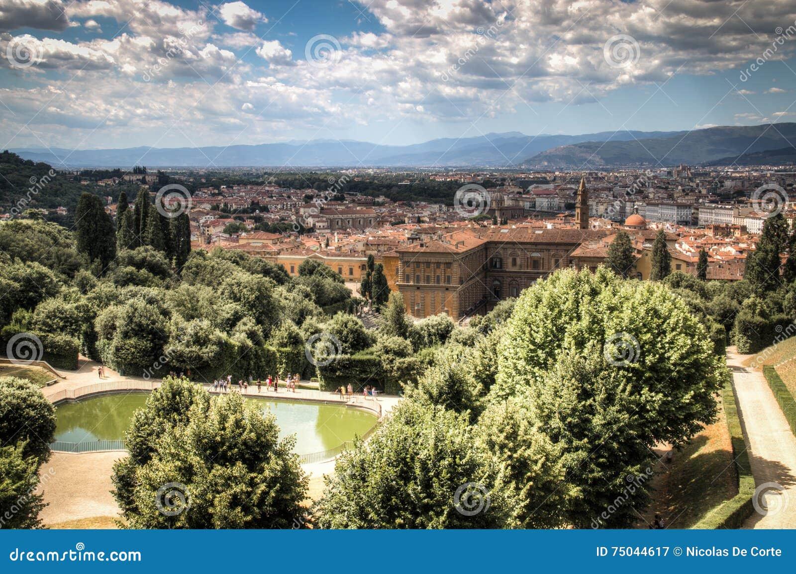 Ansicht über giardino di boboli in florenz italien stockbild