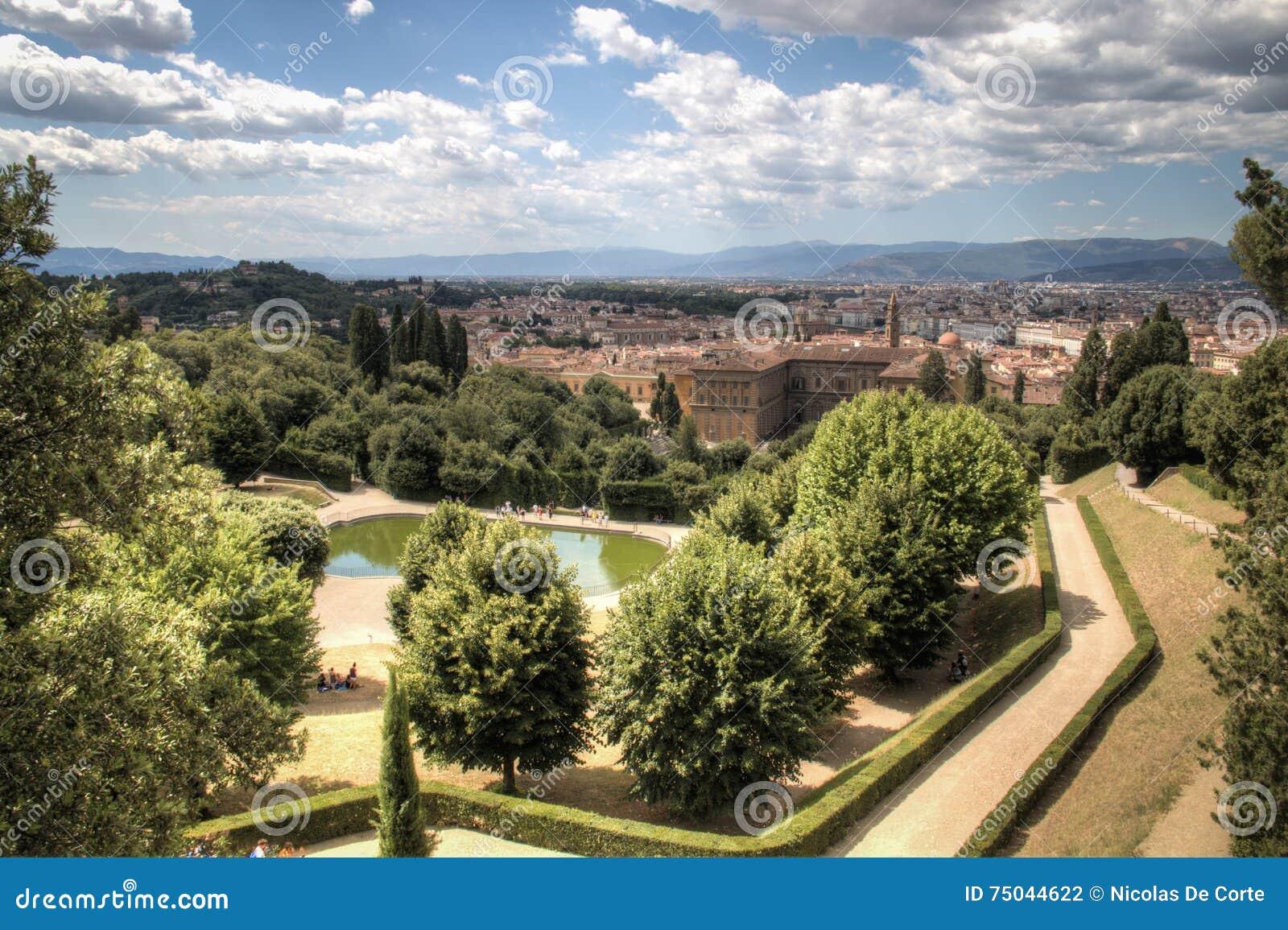 Ansicht über giardino di boboli in florenz italien stockfoto