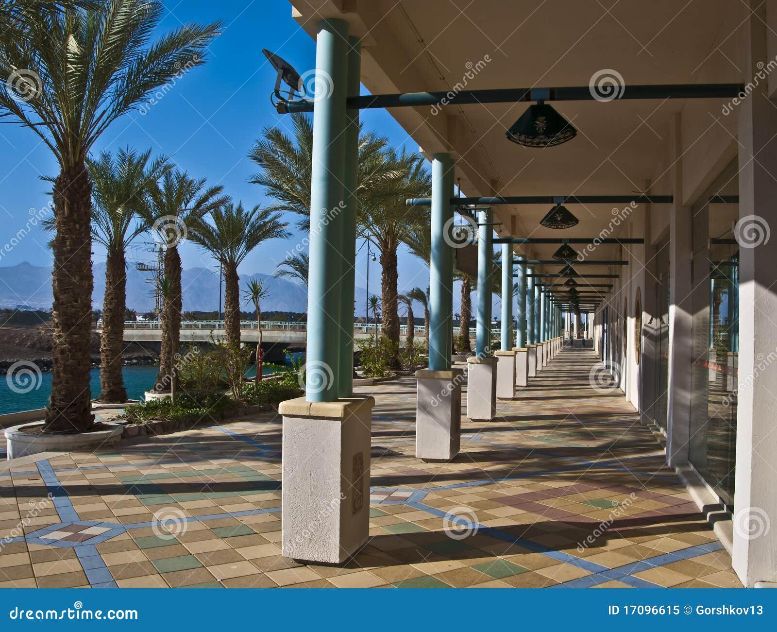 Ansicht über Rücksortierunghotels in der Eilat Stadt, Israel