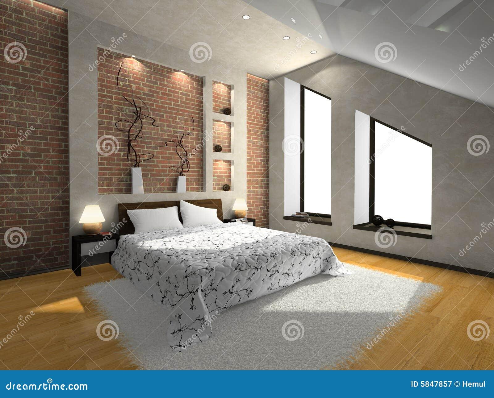 ansicht über das moderne schlafzimmer lizenzfreie stockfotografie