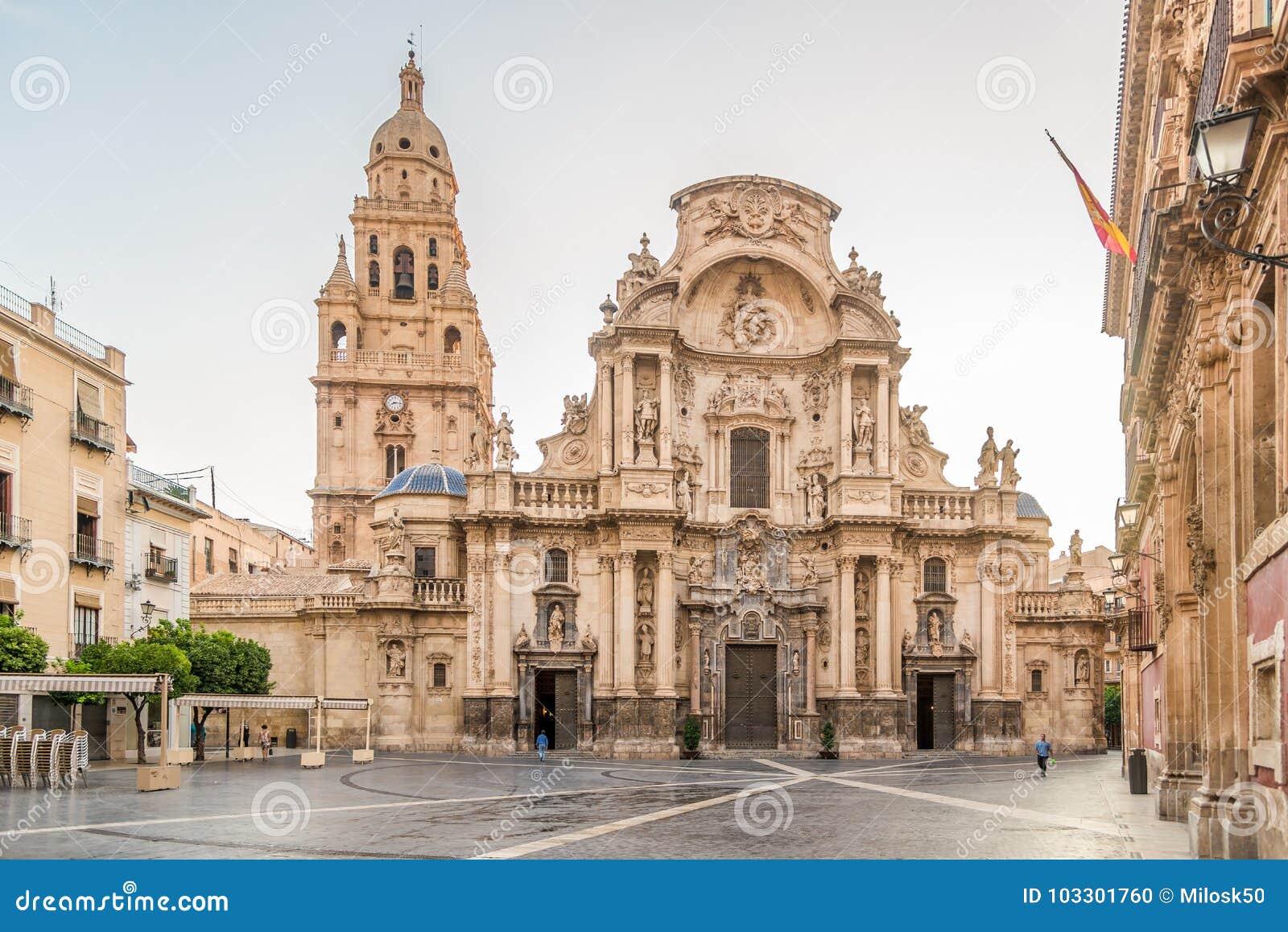 Ansicht an der Kathedralen-Heiligen Maria von Murcia in Spanien