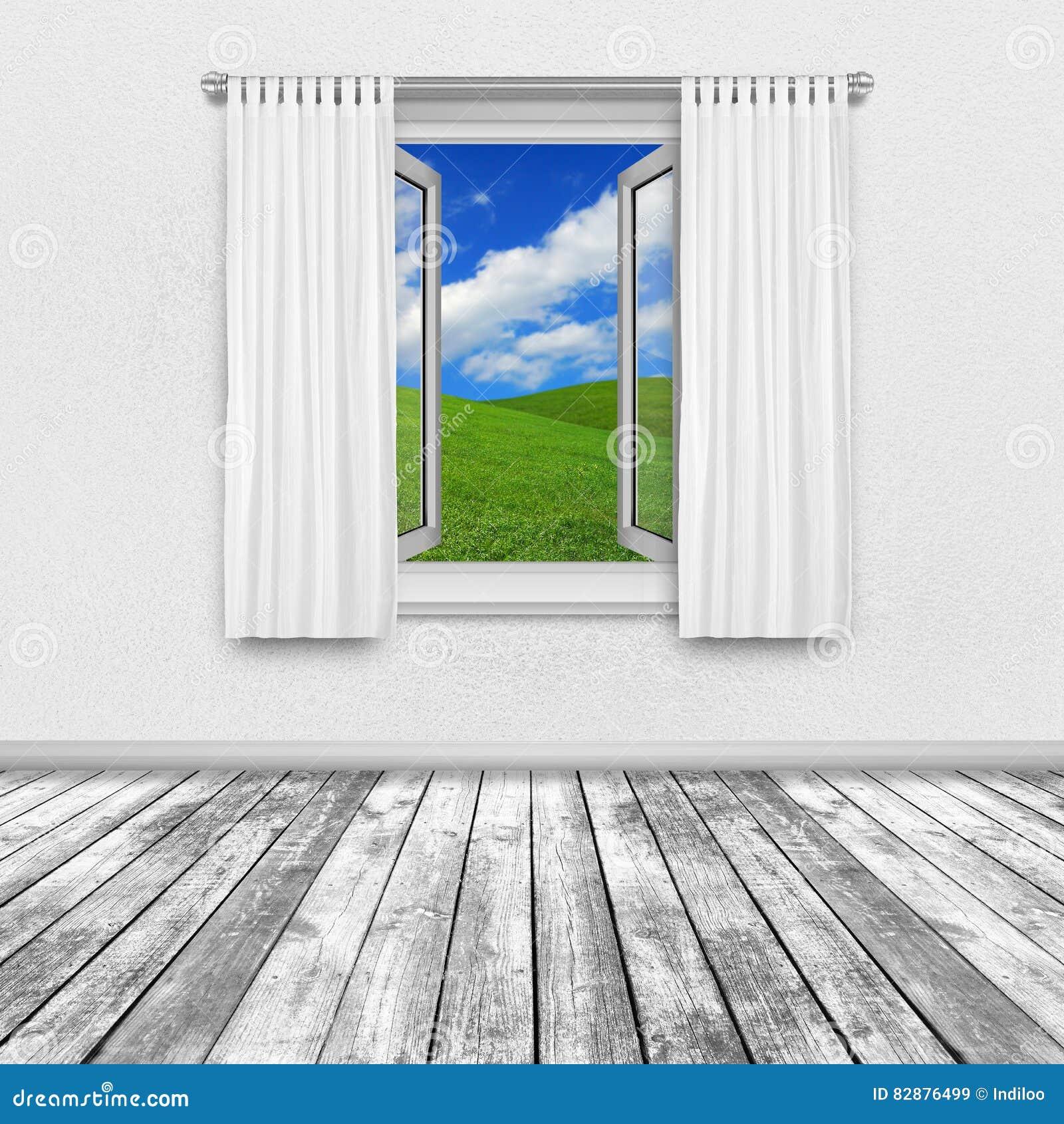 ansicht der landschaft durch offenes fenster stockfoto bild 82876499. Black Bedroom Furniture Sets. Home Design Ideas