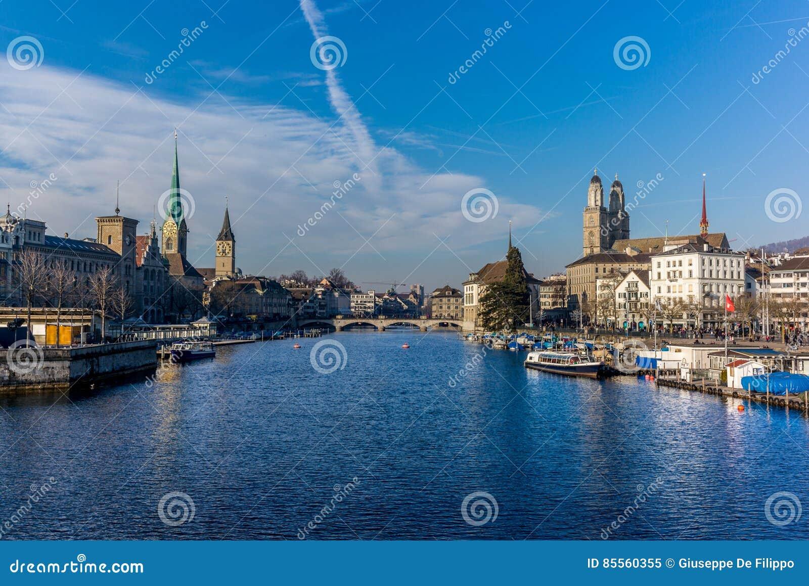 Ansicht der Mitte von Zürich und von Limmat-Fluss- 1