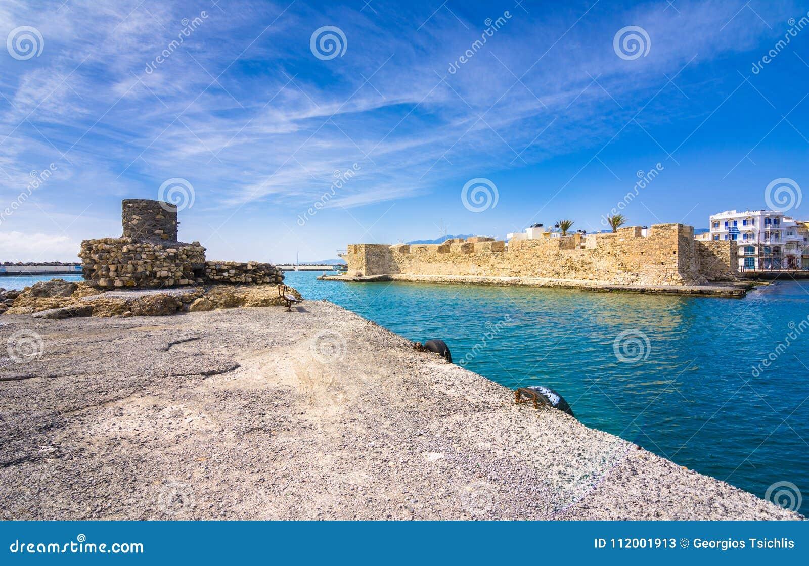 Ansicht der venetianischen Festung der Kohle am Eingang zum Hafen, Ierapetra, Kreta
