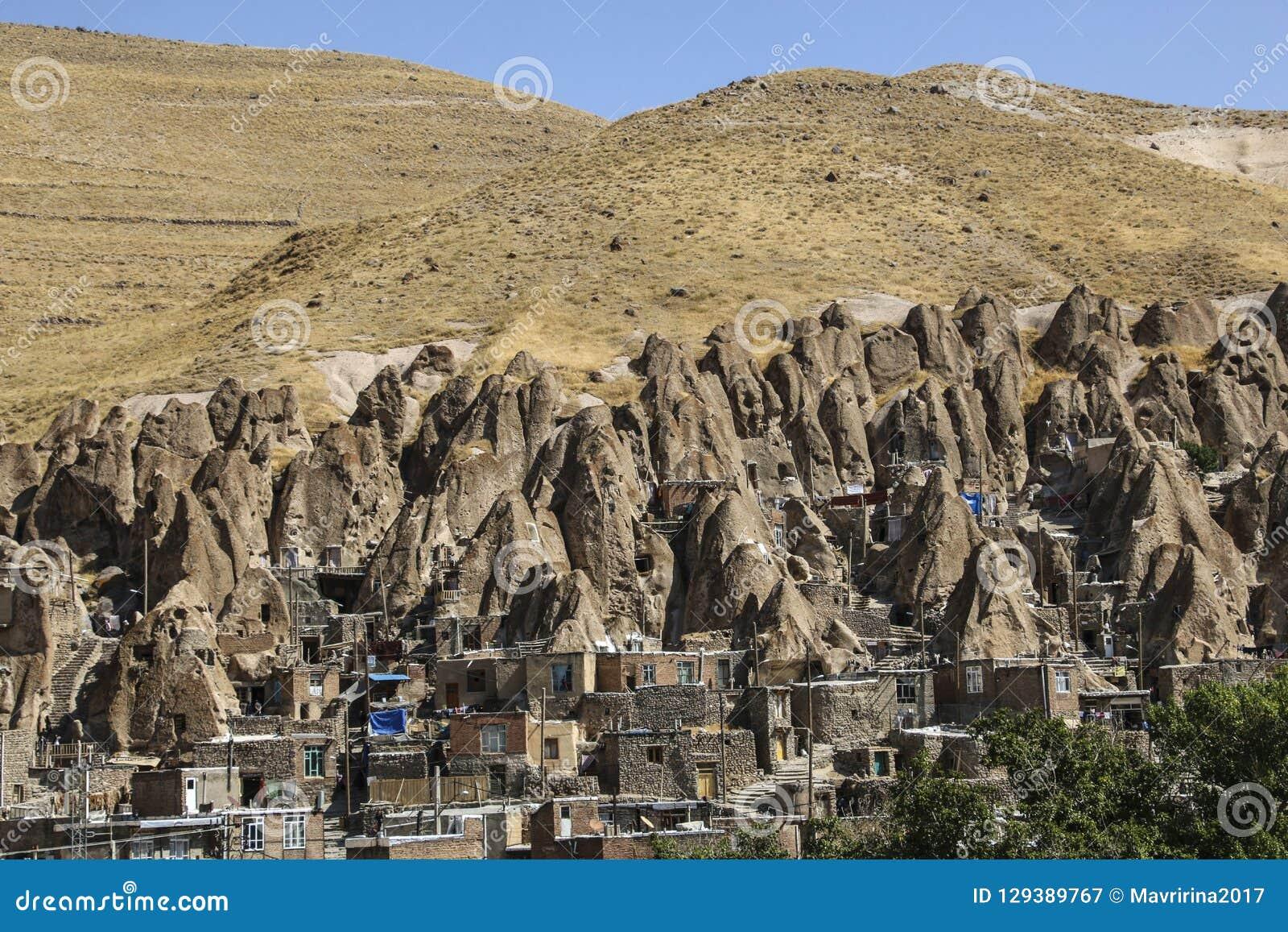 Ansicht Des Felsendorfs Kandovan Ost Aserbaidschan Provinz Iran Stockbild Bild Von Provinz Aserbaidschan 129389767