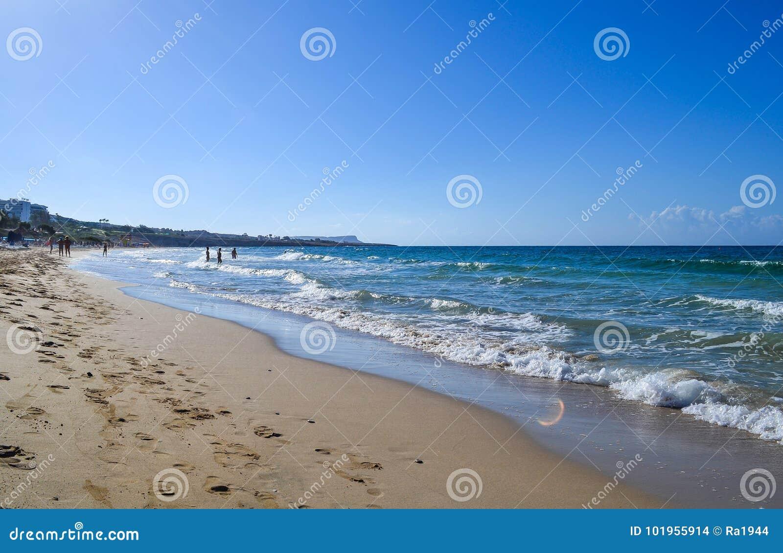Ansicht Des Meeres Sandy Strand Und Das Meer Zypern Ayia