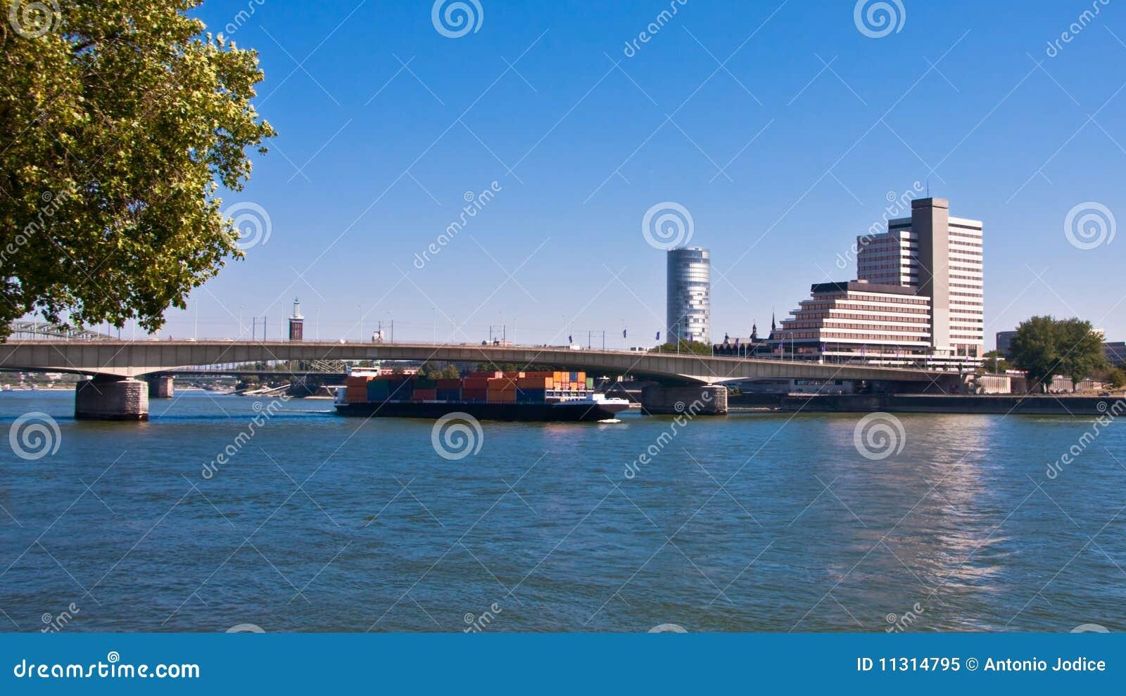 Ansicht Deutschland Köln-, Geschäftsgebiet-Fluss