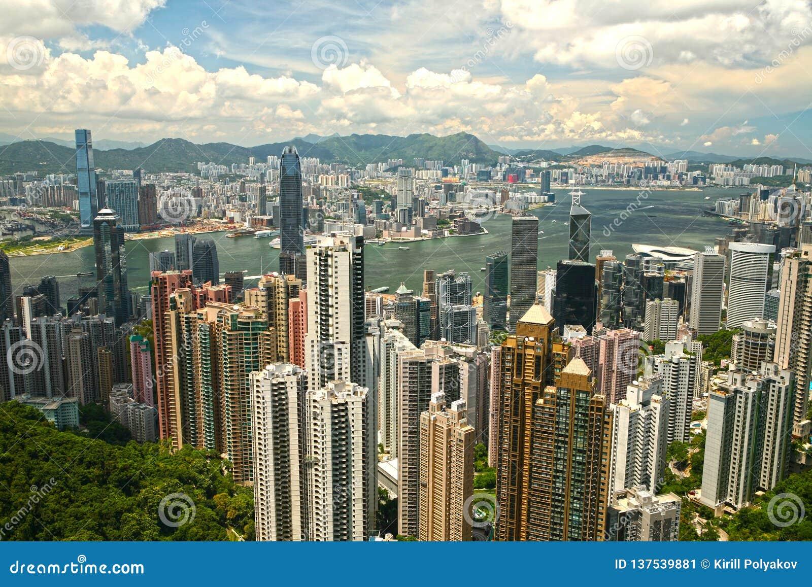 Ansicht Hong Kong Business Centers von Victoria Peak China