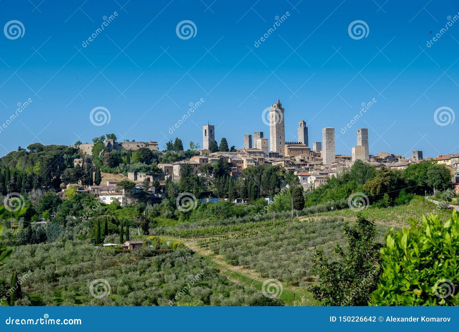 Ansicht nach San Gimignano, Toskana, Italien