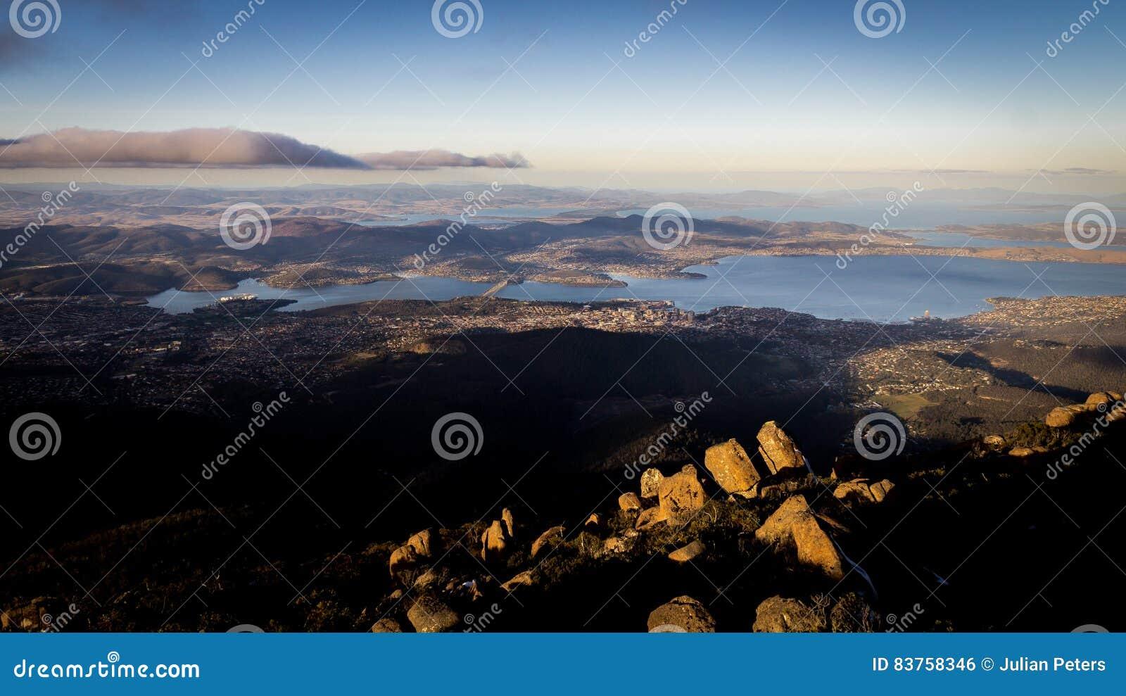 Ansicht vom Berg Wellington, das Hobart, Tasmanien, Australien übersieht