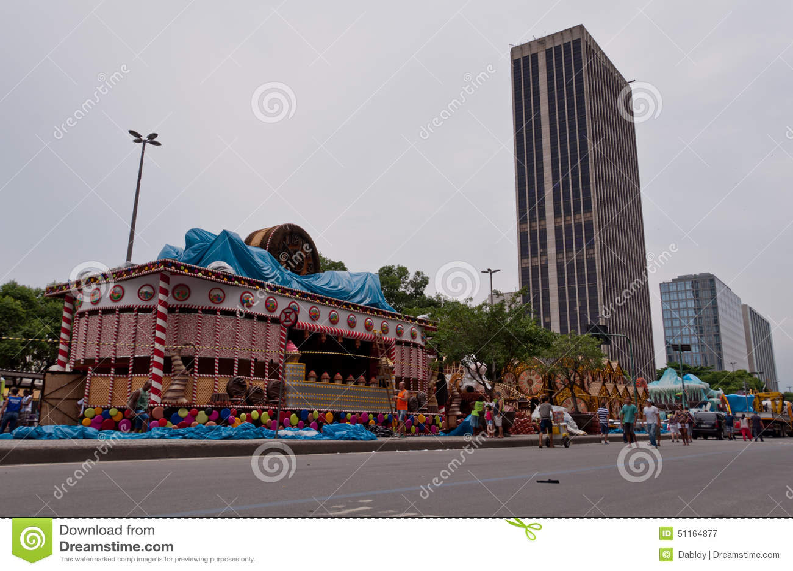 Ansicht von Allee Avenida Presidente Vargas in Rio de Janeiro während des Karnevals