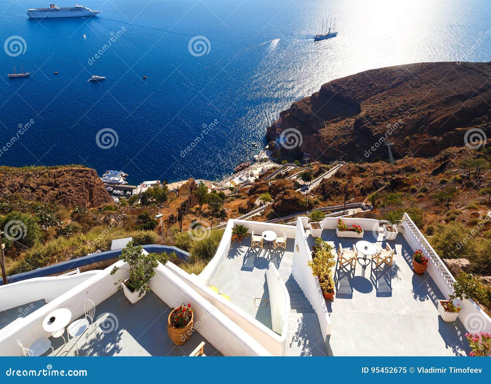 Ansicht Von Fira Stadt Santorini Insel Kreta Griechenland Weisse