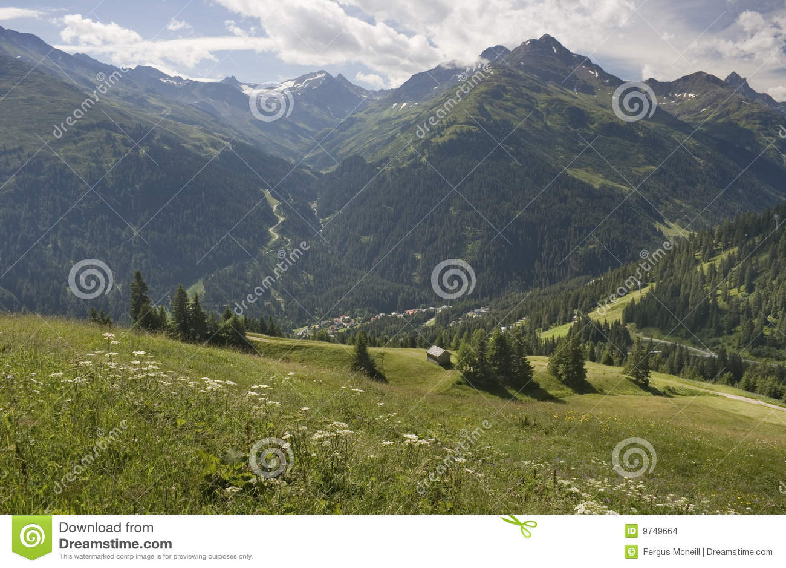 Ansicht von Gampen, in den österreichischen Alpen