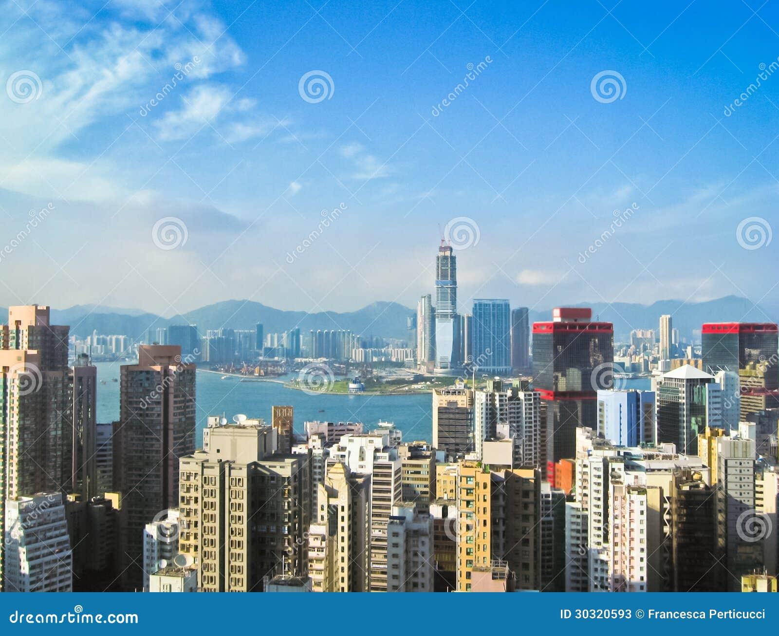 Skycrapers in Hong Kong mit Sonne 3