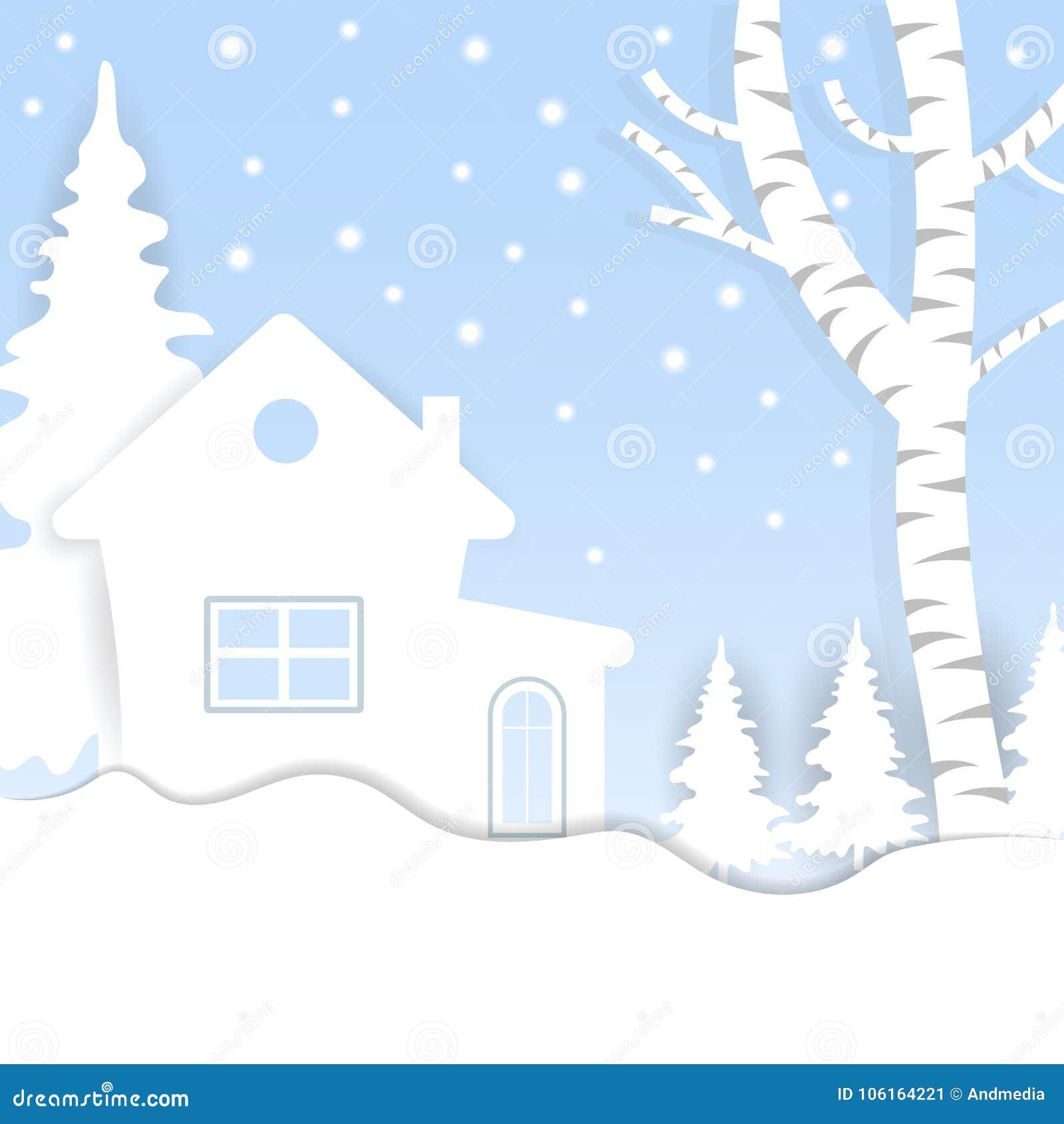 Ansichten des Hauses im Winter Stadt-Dorf mit Schnee