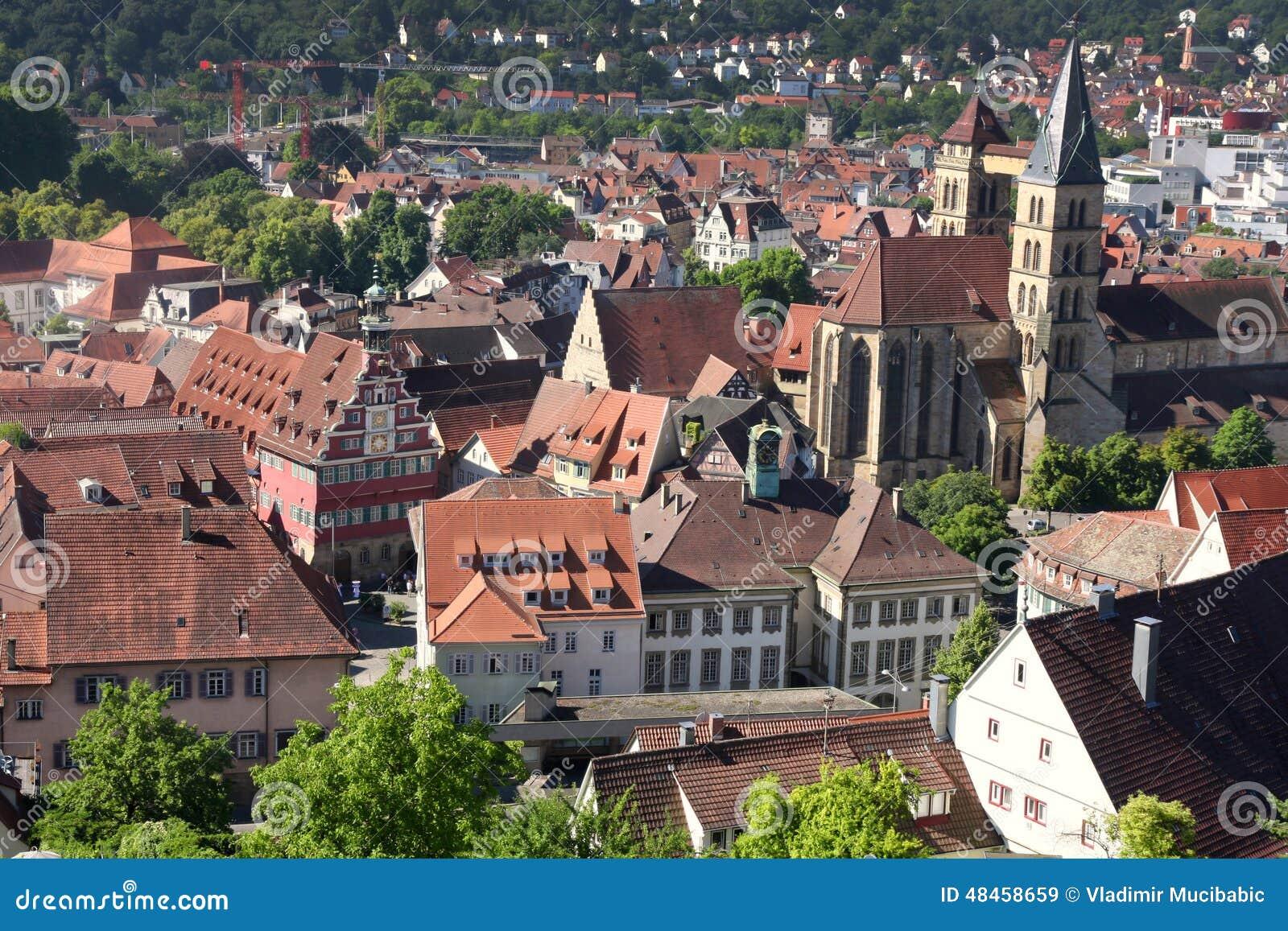 Ansichten Esslingen Morgens Neckar Von Schloss Burg Nahe Stuttgart