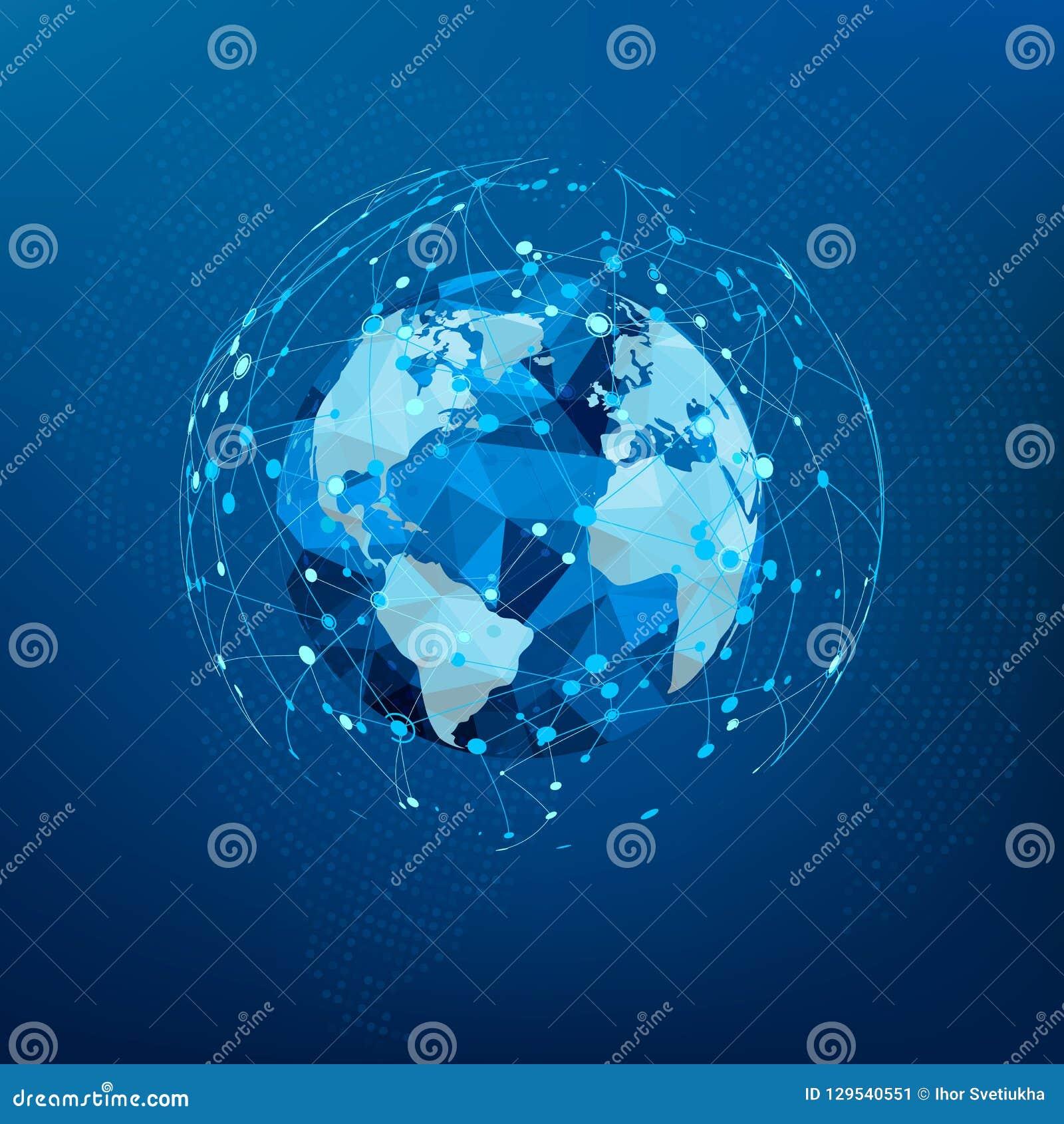 Anslutning för globalt nätverk Polygonal världskarta Prickar och linjer world wide webstruktur också vektor för coreldrawillustra
