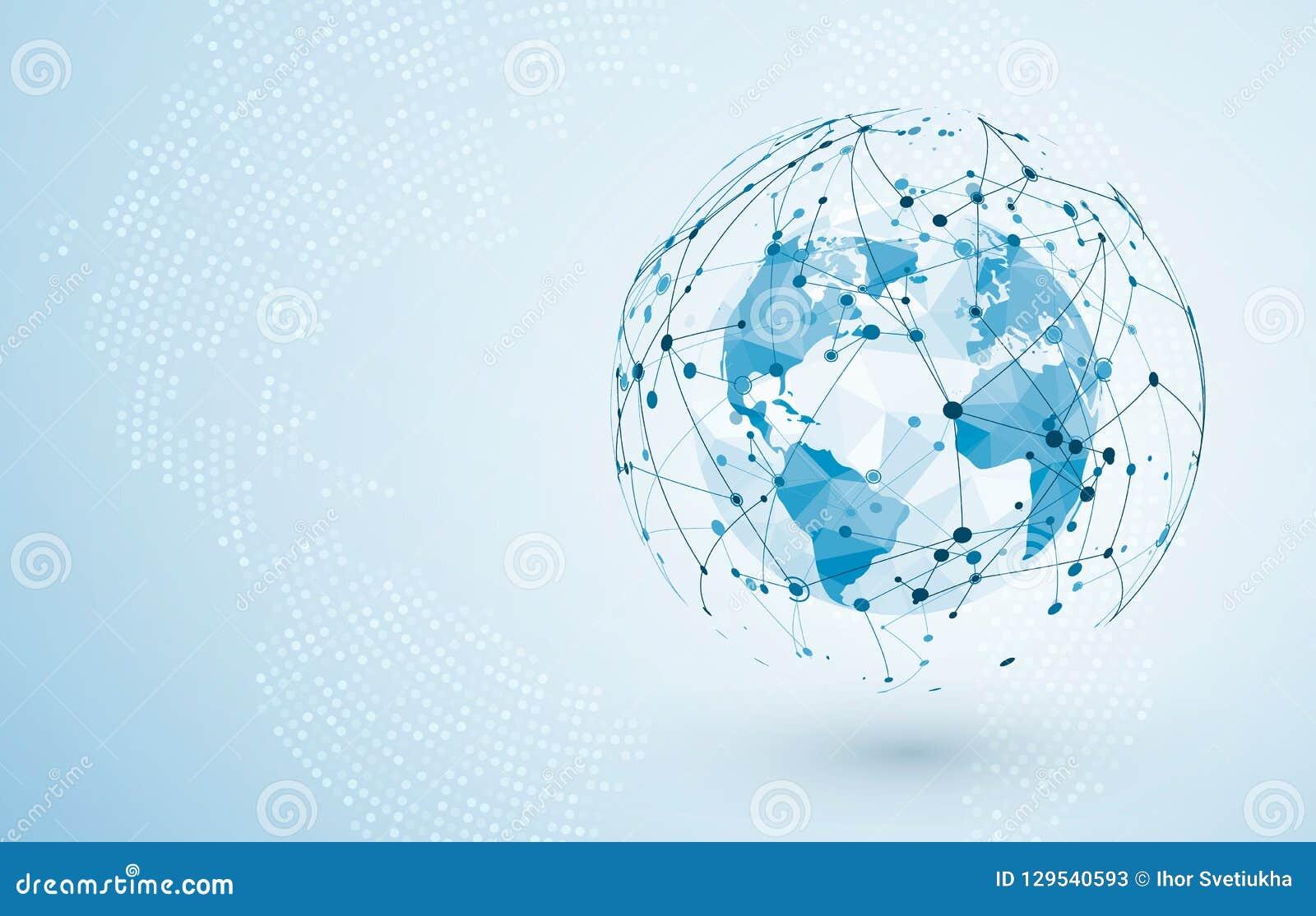 Anslutning för globalt nätverk Stora data eller global social nätverksanslutning Lågt polygonal världskartabegrepp av den globala