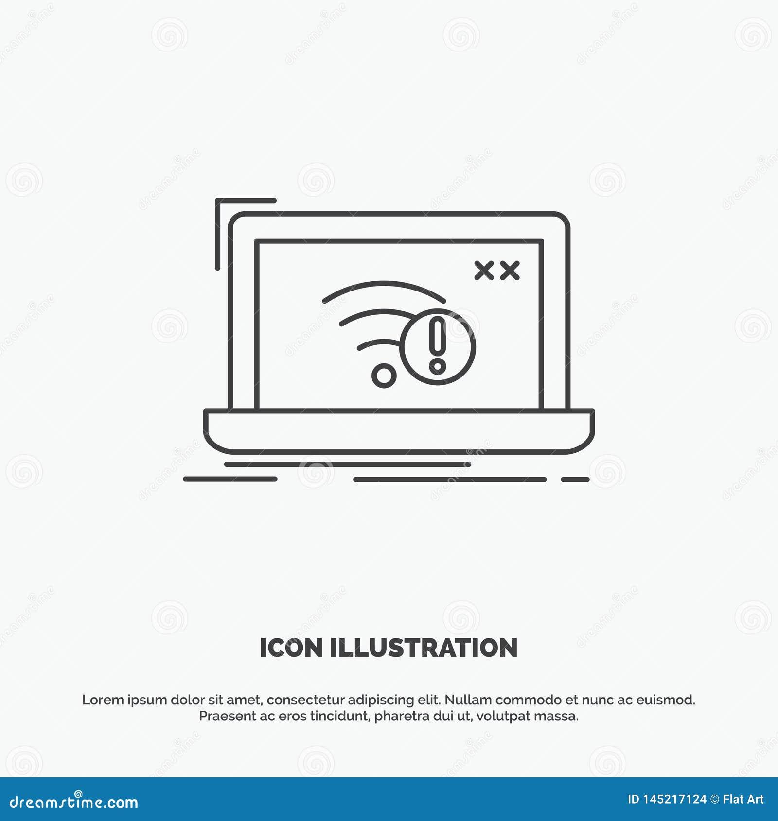 Anslutning fel, internet som ?r borttappad, internetsymbol Linje gr?tt symbol f?r vektor f?r UI och UX, website eller mobil appli