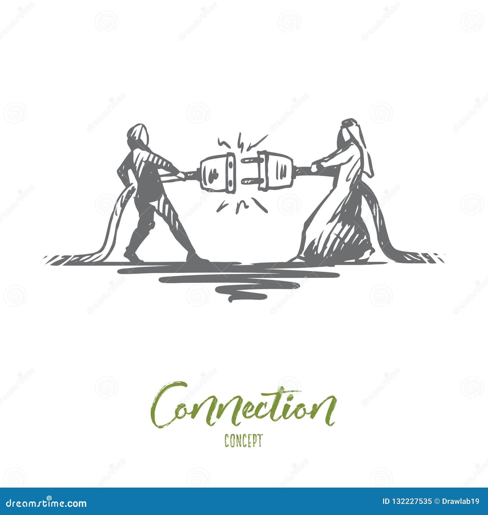 Anslutning partnerskap, synergi, tillsammans, muslimbegrepp Hand dragen isolerad vektor