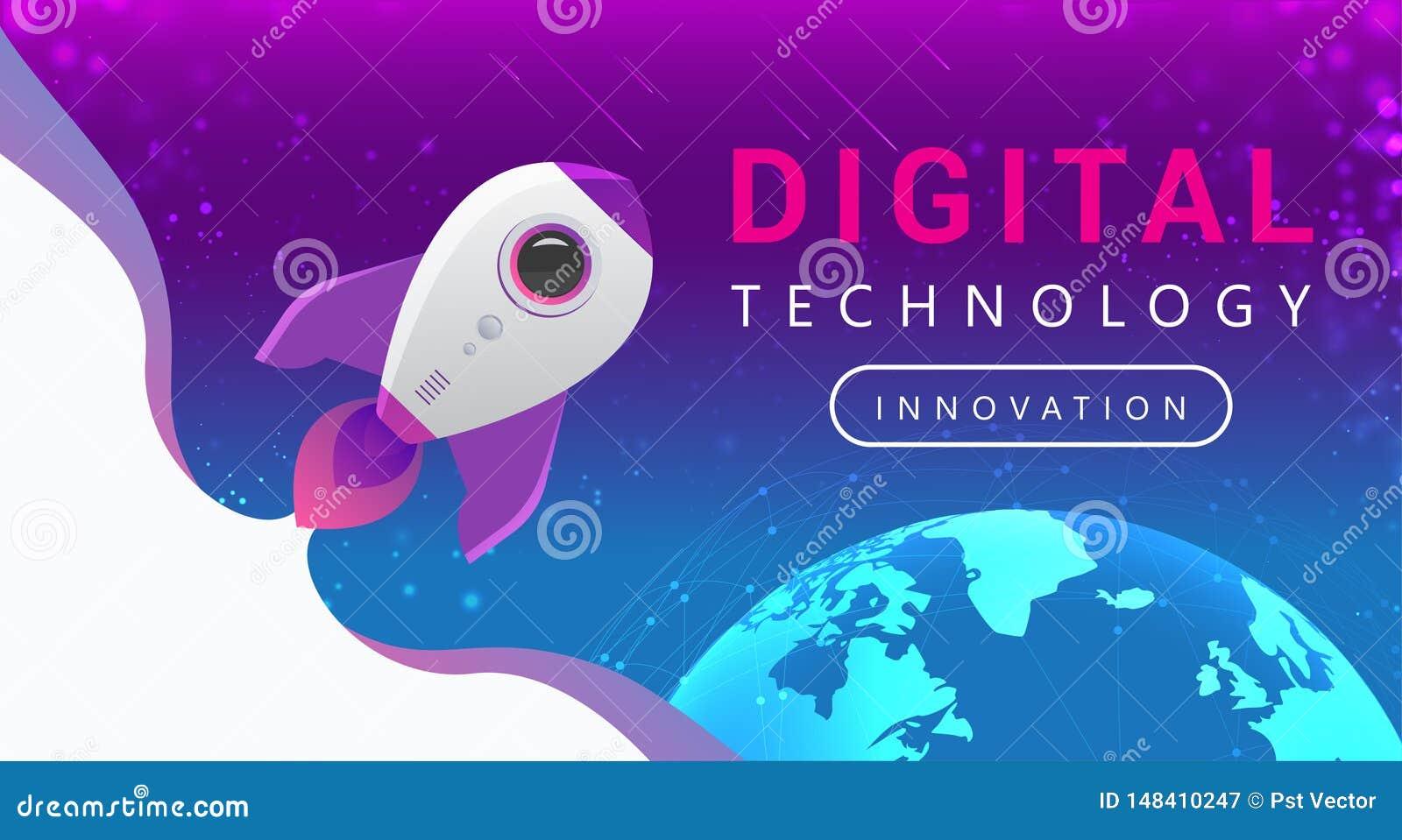 Anslutningslinjer för Digital teknologi runt om jordjordklotet Rocket Flying fr?n jord till utrymme