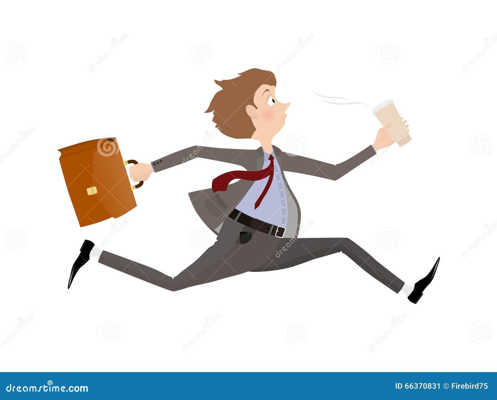Anställd rusar till kontoret till början av arbetsdags Affärsman sent för en tidsbeställning