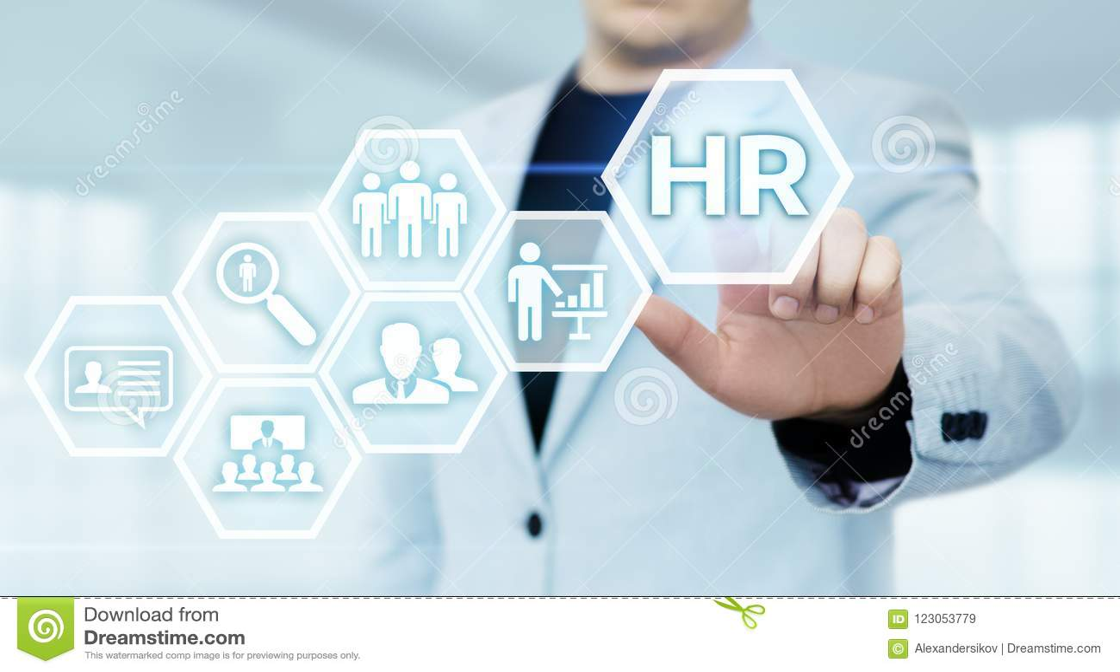 Anställning för rekrytering för personalresurstimme-ledning som jagar huvuden begrepp