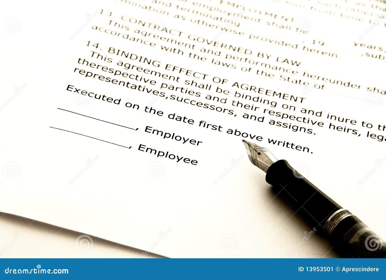 Anstellungsvertrag Stockbild Bild Von Aushandeln Vereinbarung
