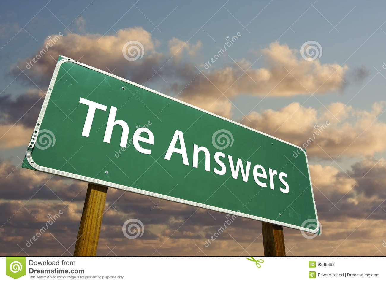 The Answers Green Road Sign Stock Photo