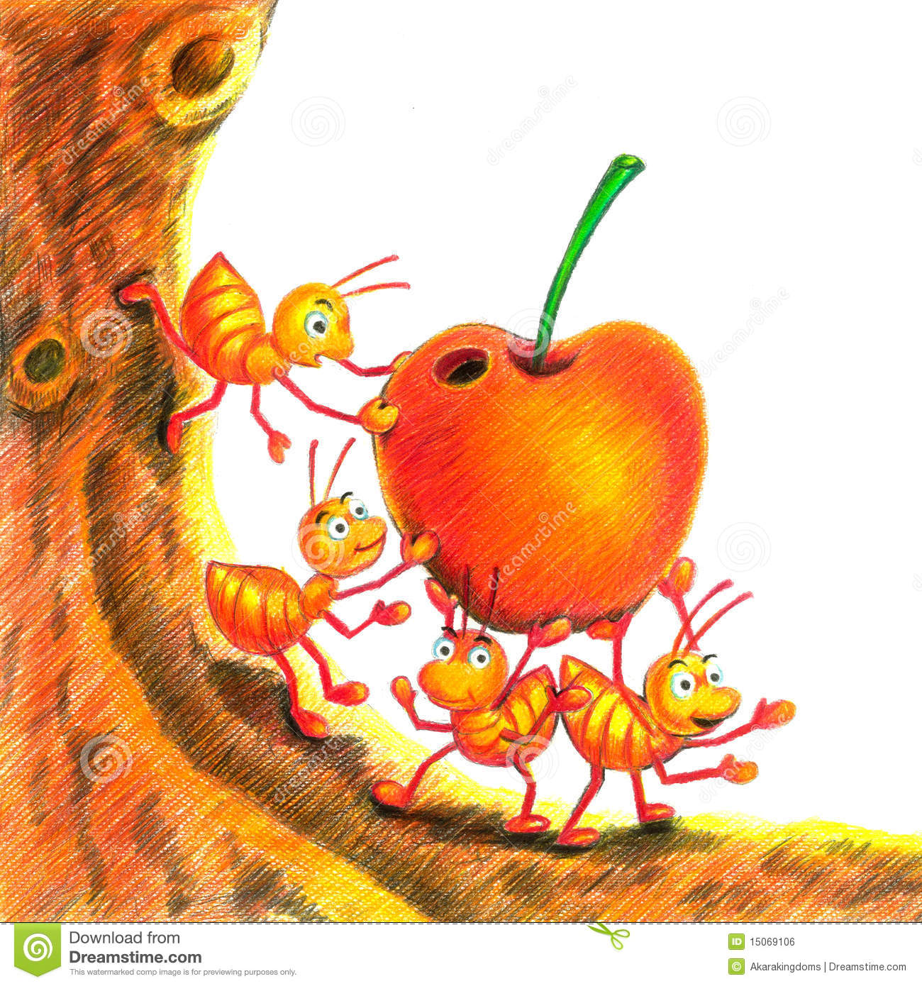 ant and apple royalty free stock image image 15069106