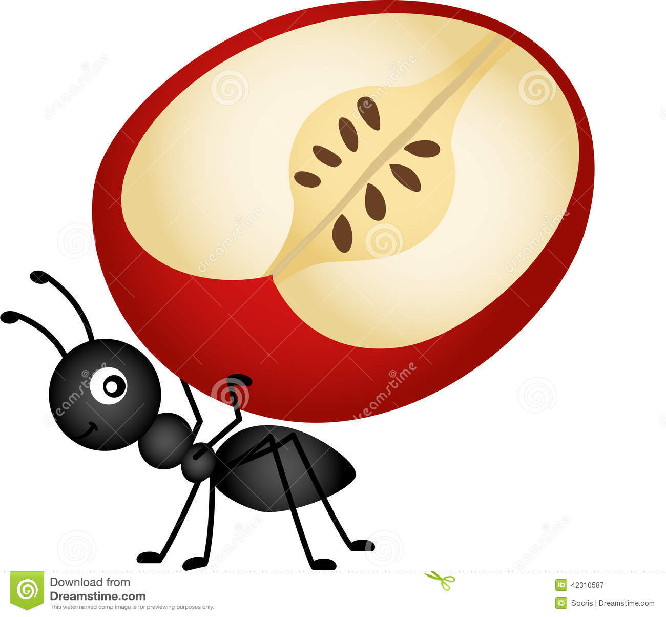 Ant Carrying Apple Slice Stock Vector. Illustration Of