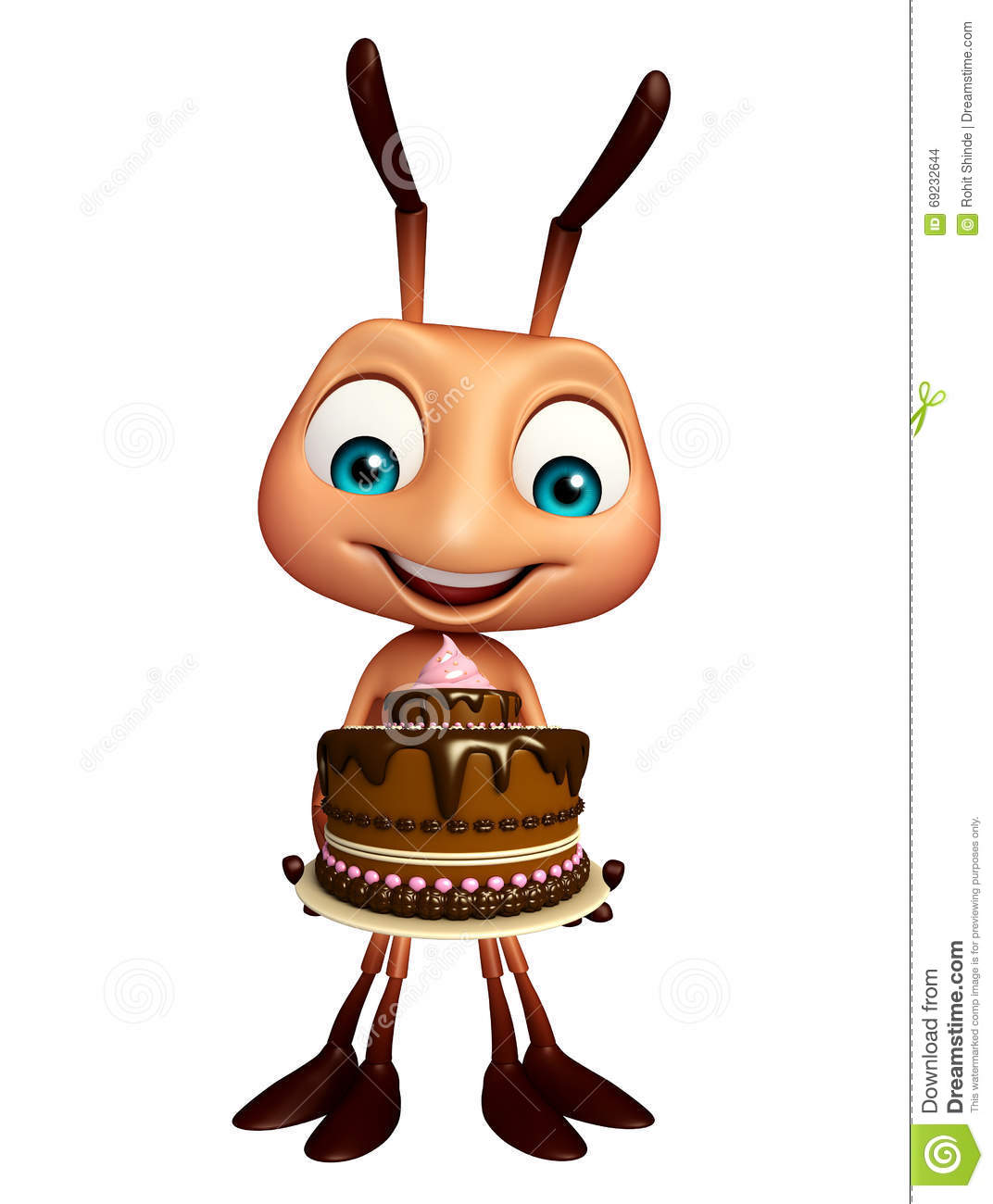 Ant Cartoon Character With Cake Stock Illustration