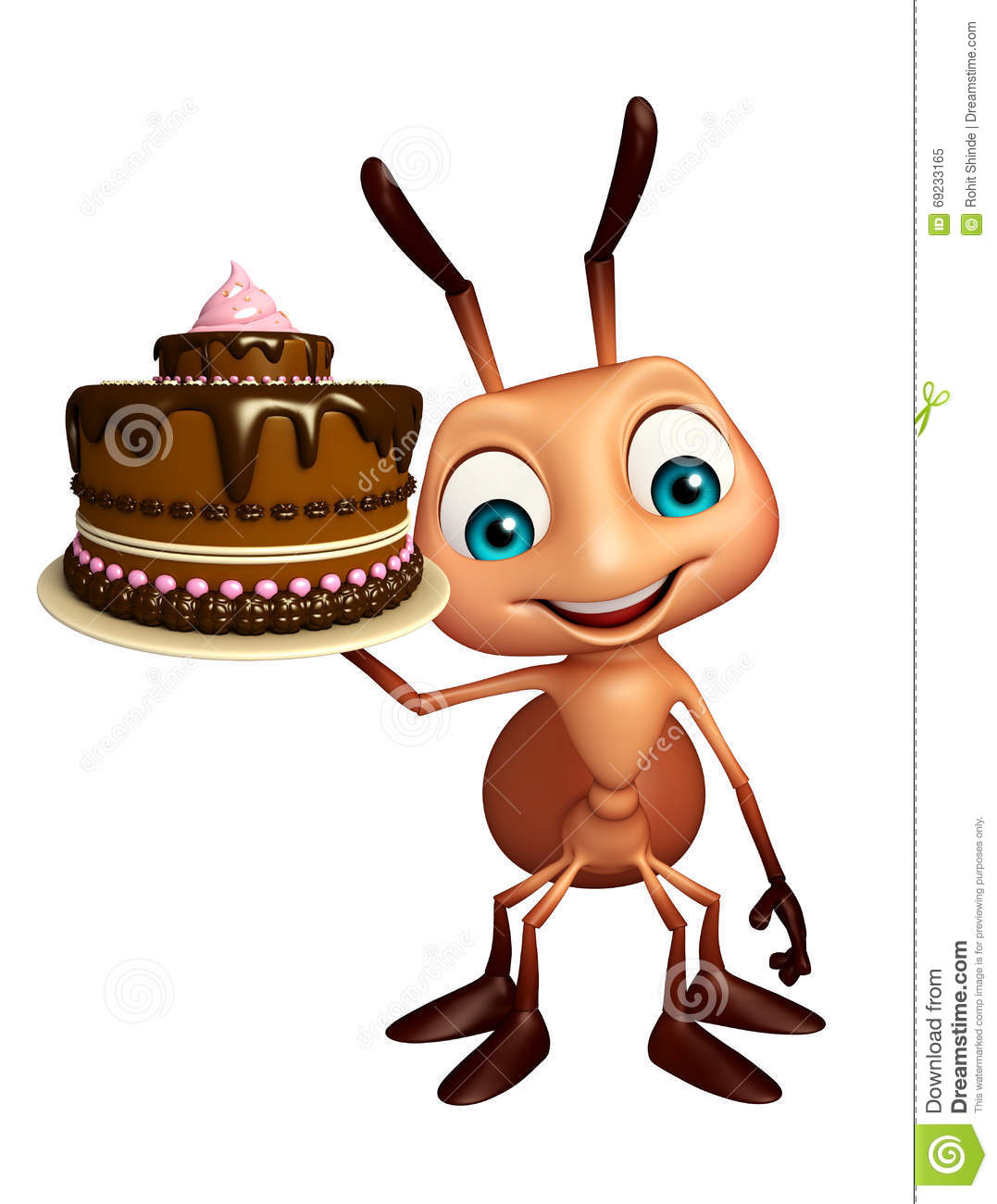 Cartoon Character Design For Cake : Ant cartoon character with cake stock illustration image
