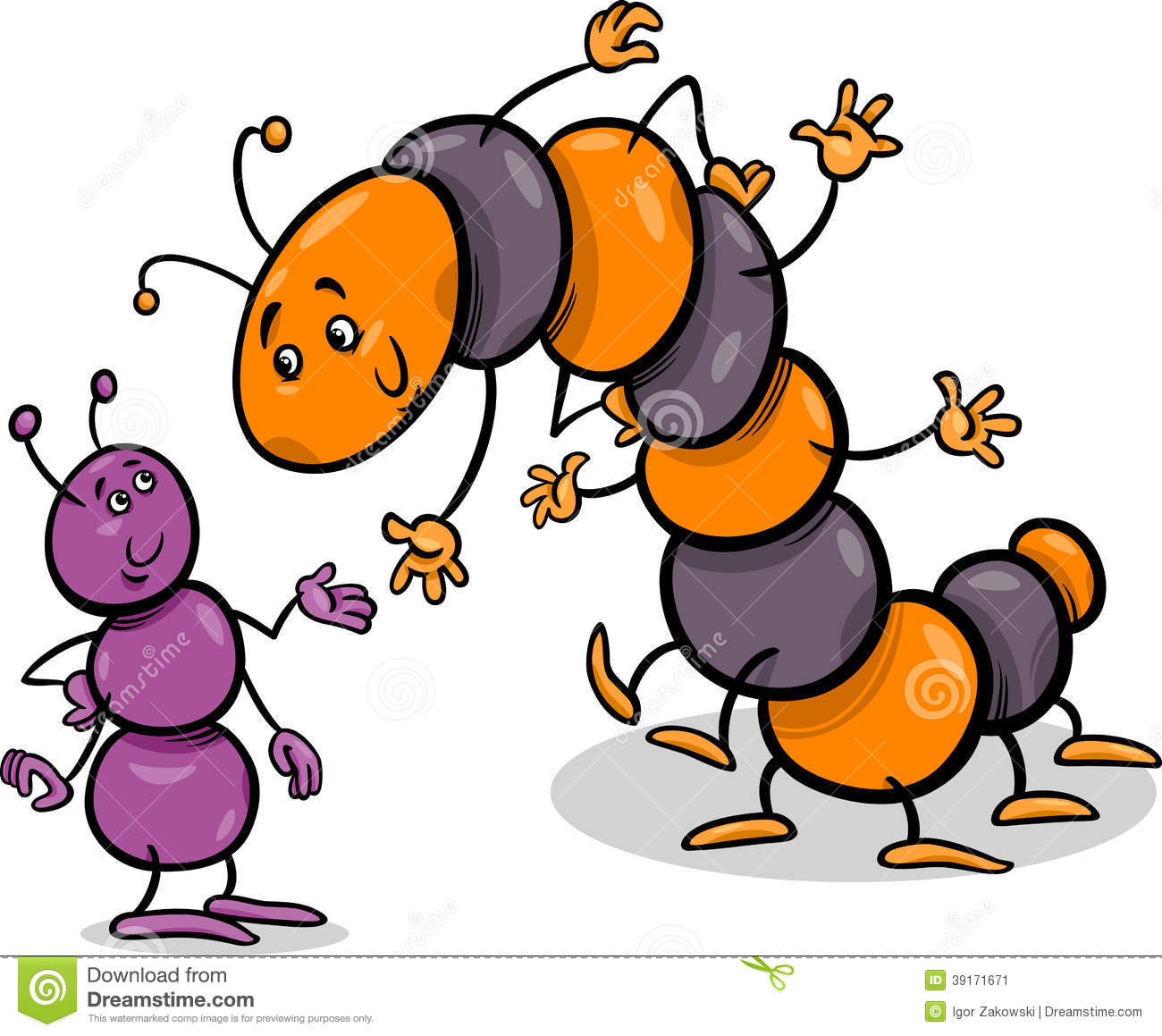 ... Illustration of Ant and Caterpillar or Millipede Insects Characters