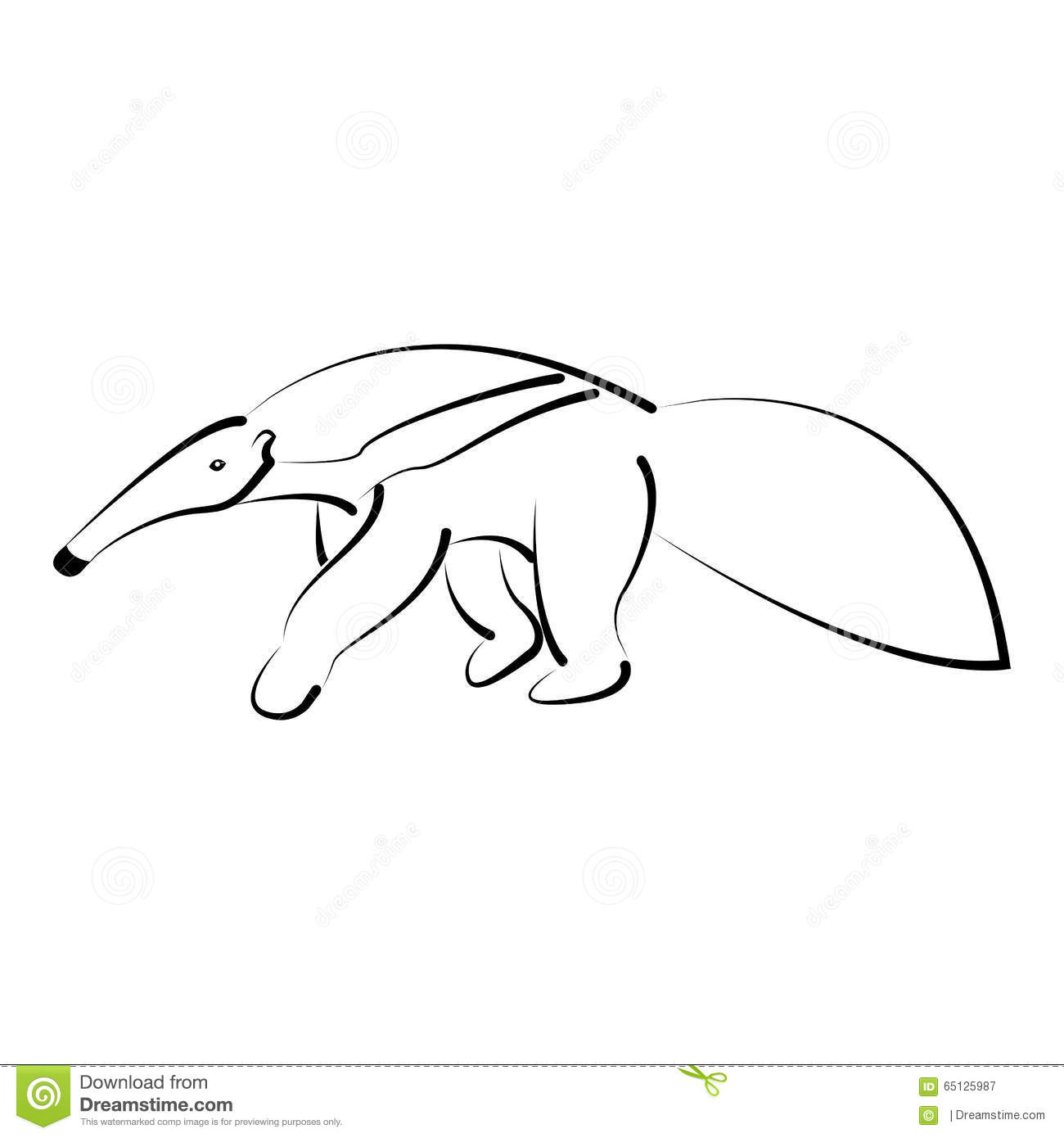 ant eater minimal drawing illustration 65125987 megapixl
