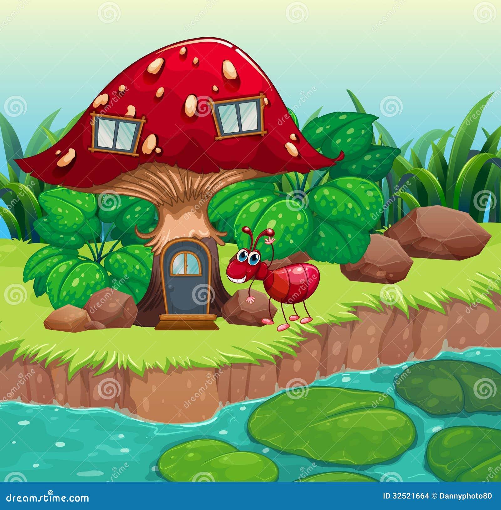 An Ant Near The Red Mushroom House Stock Vector