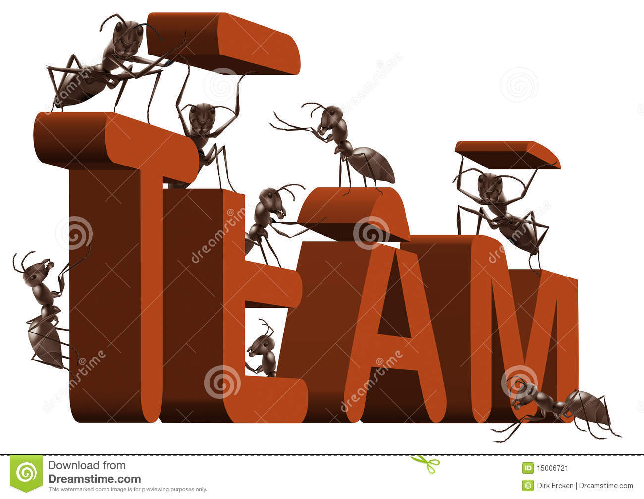 Ant teamwork team building or work cooperation