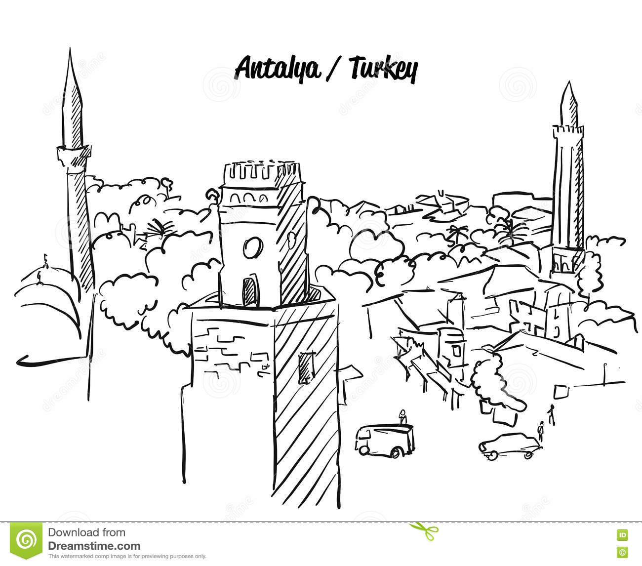 antalya turkey old town colouring page famous destination landmark hand drawn vector artwork