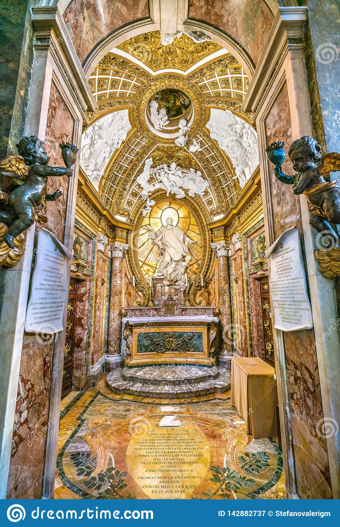 Antamoro Chapel or Chapel of Saint Philip Neri Church of San Girolamo della Carità in Rome, Italy.