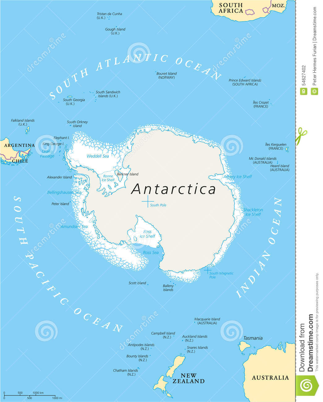 Antarctic region political map stock vector image 54627402 royalty free vector sciox Images