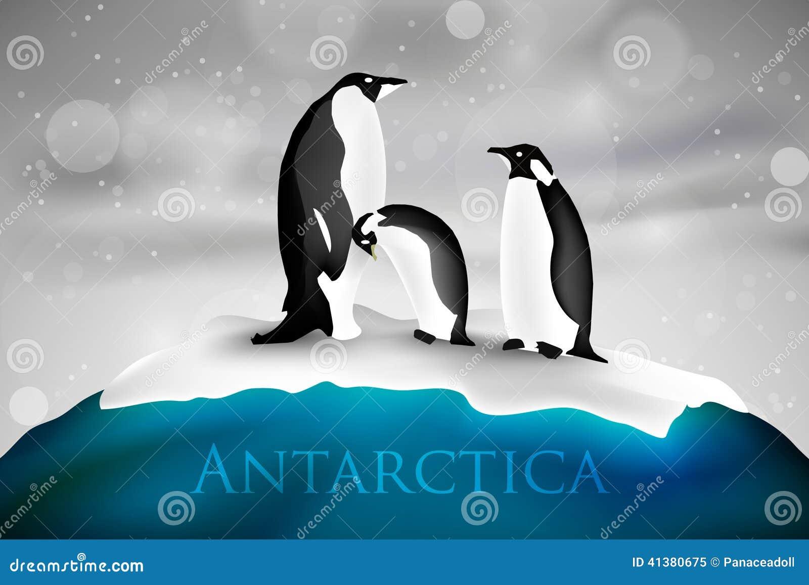 Antarctica with penguins