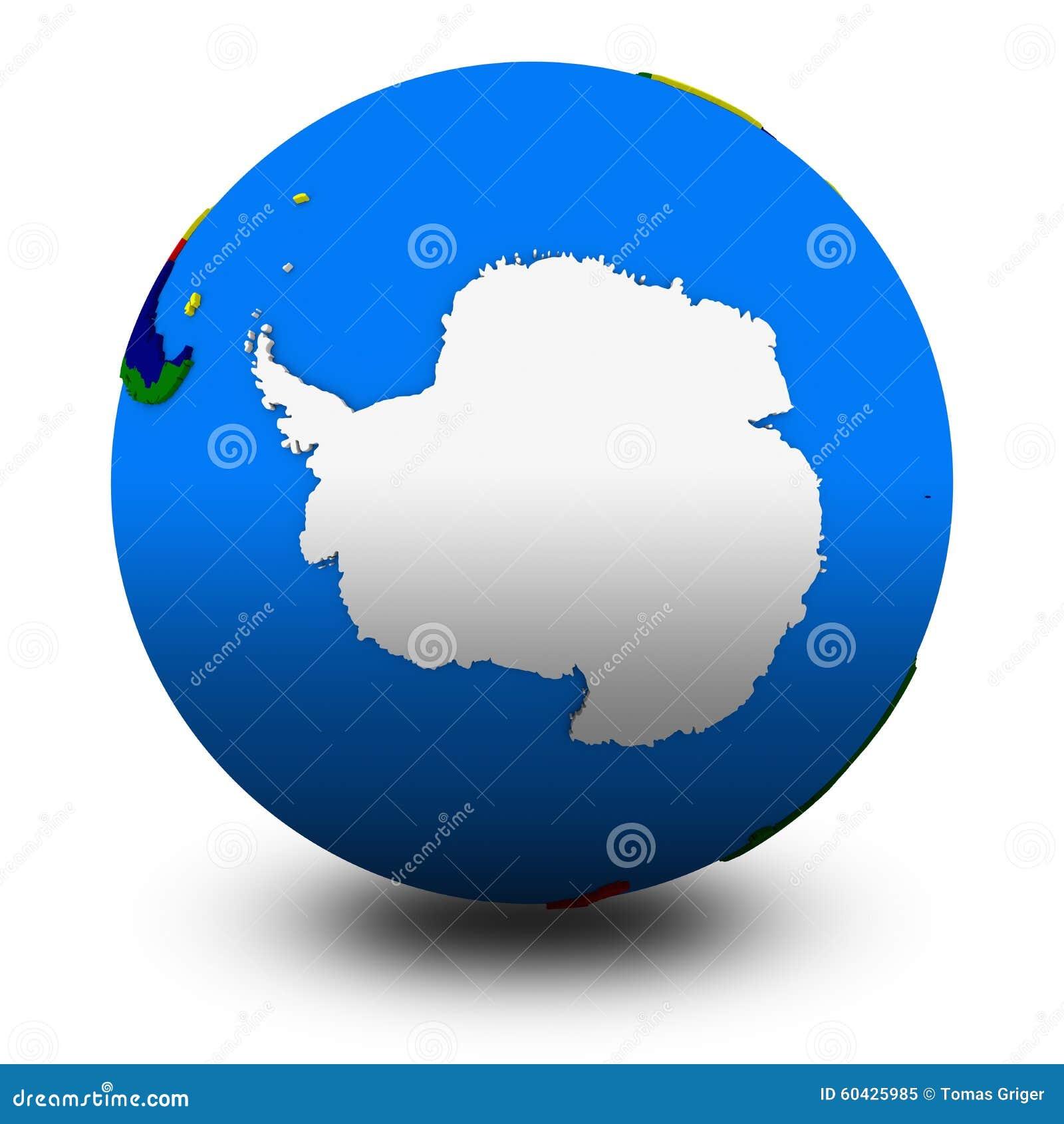 Antarctica on political globe illustration