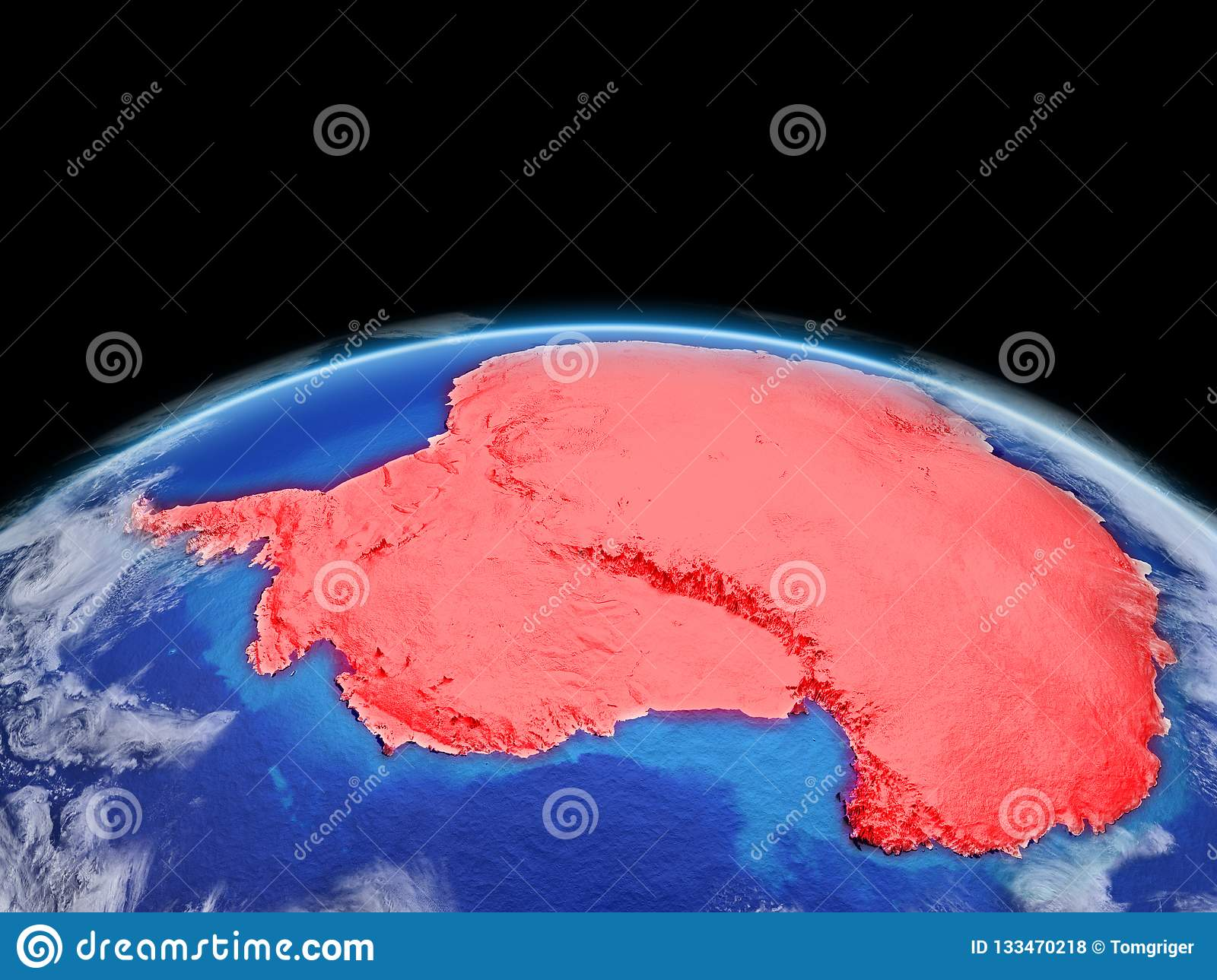 Antarctica in red on Earth