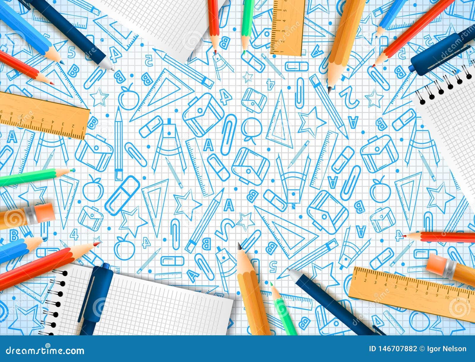 Anteckningsböcker med deferent blyertspennor i realistisk stil på bakgrund med skolaklotterillustrationer Duva som symbol av f?r?