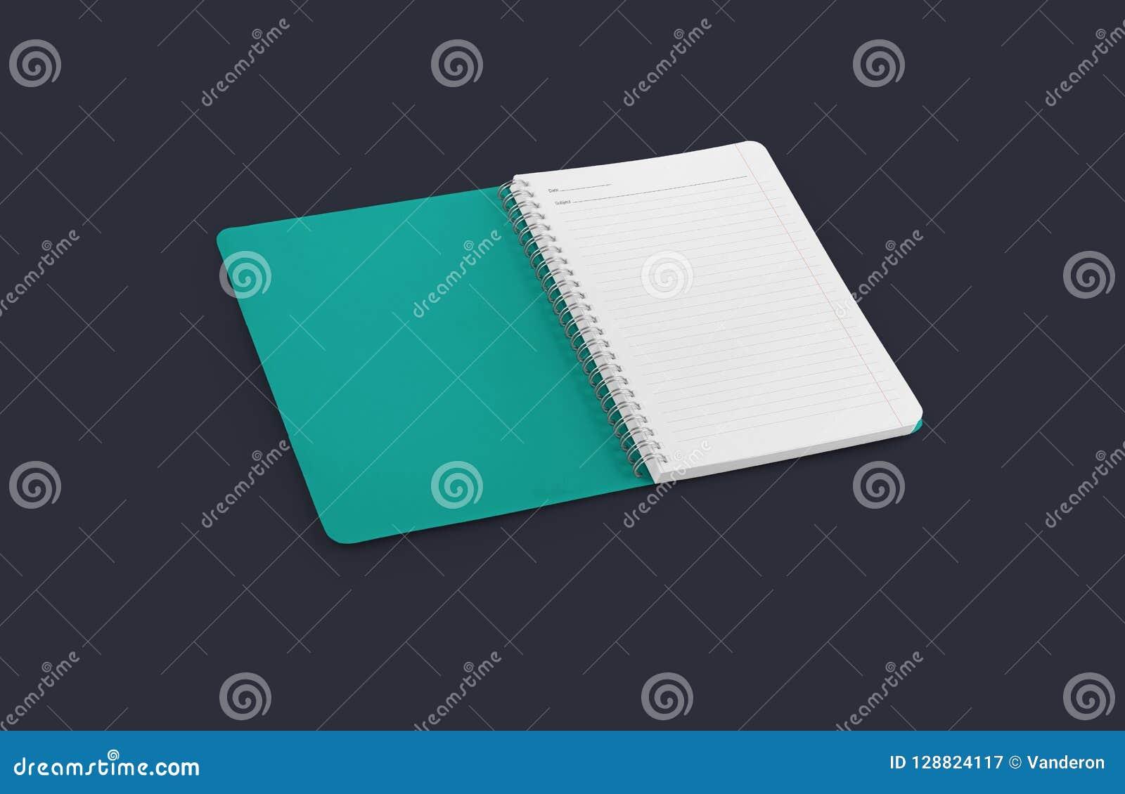Anteckningsbokmodell för dina detaljer för design, för bild, för text eller för företags identitet Tom förskriftsbok för lodlinje