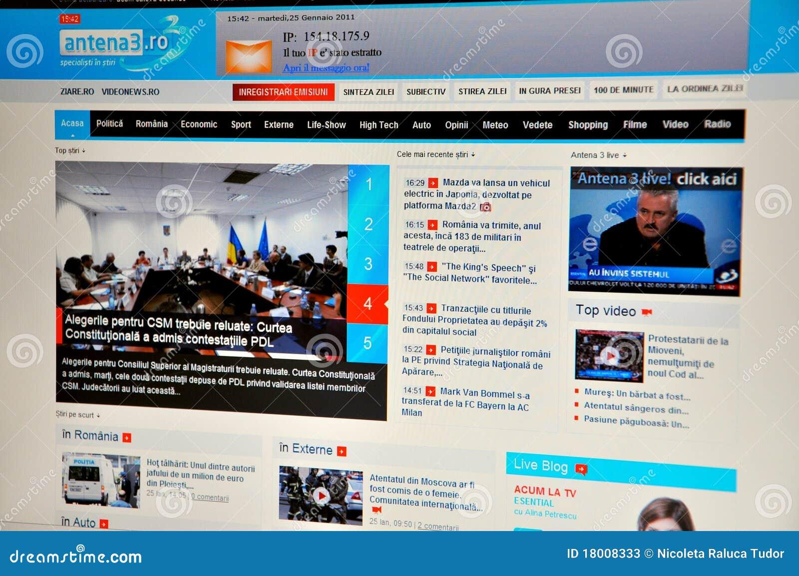 Antena 3 website editorial stock photo  Image of live - 18008333