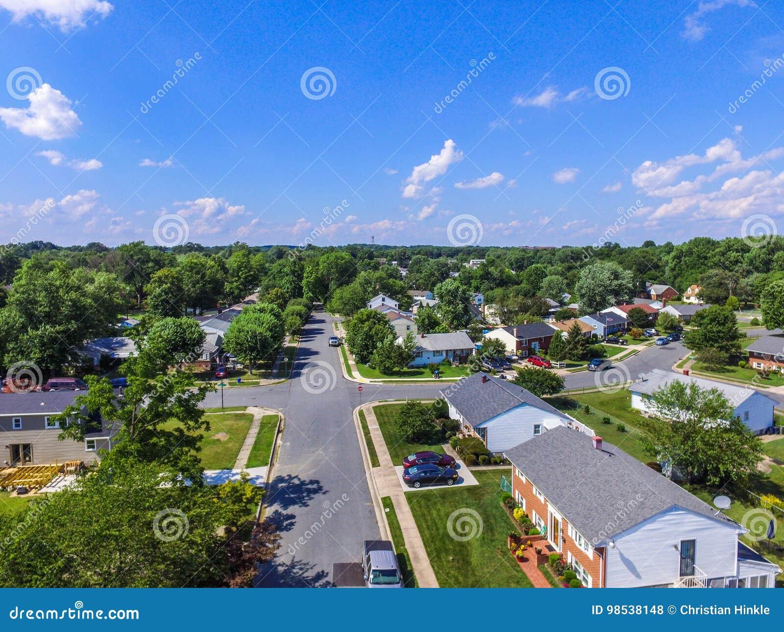 Antena de uma vizinhança em Parkville em Baltimore County, Maryl