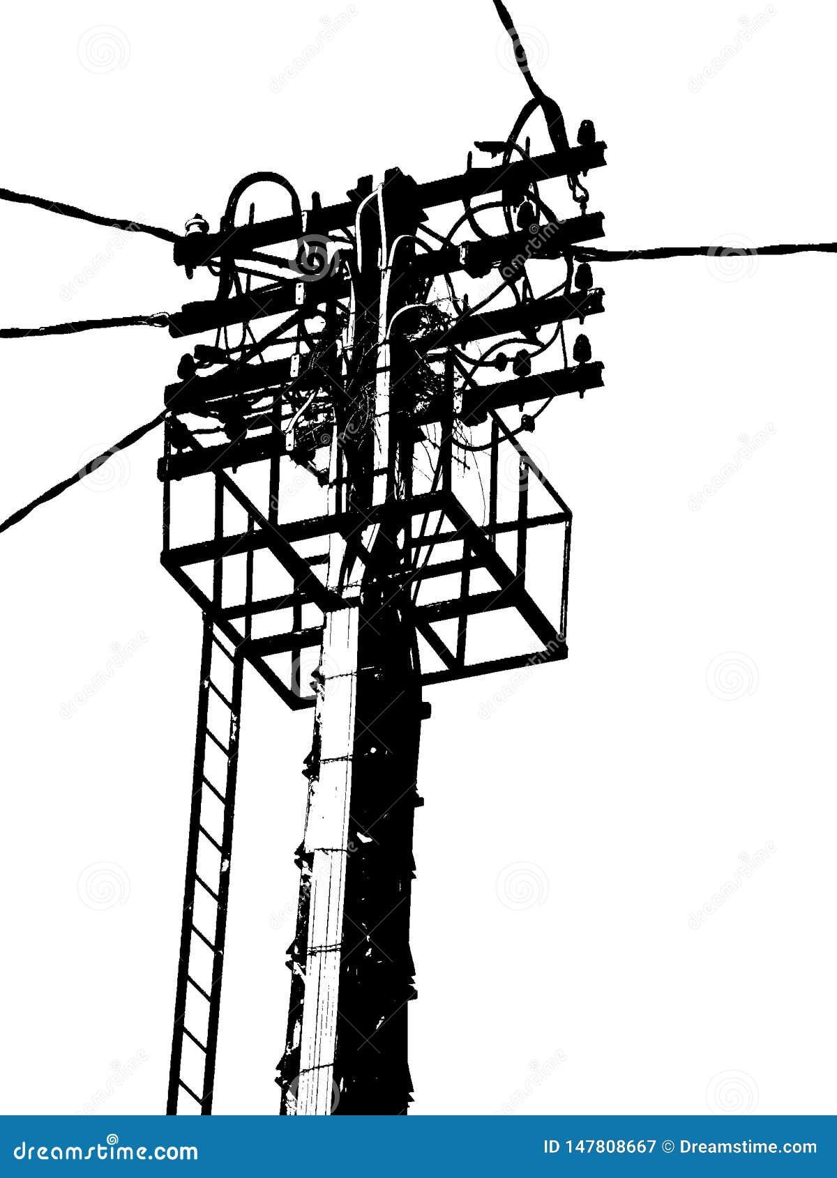 Antena eléctrica en poste blanco y negro, ligero